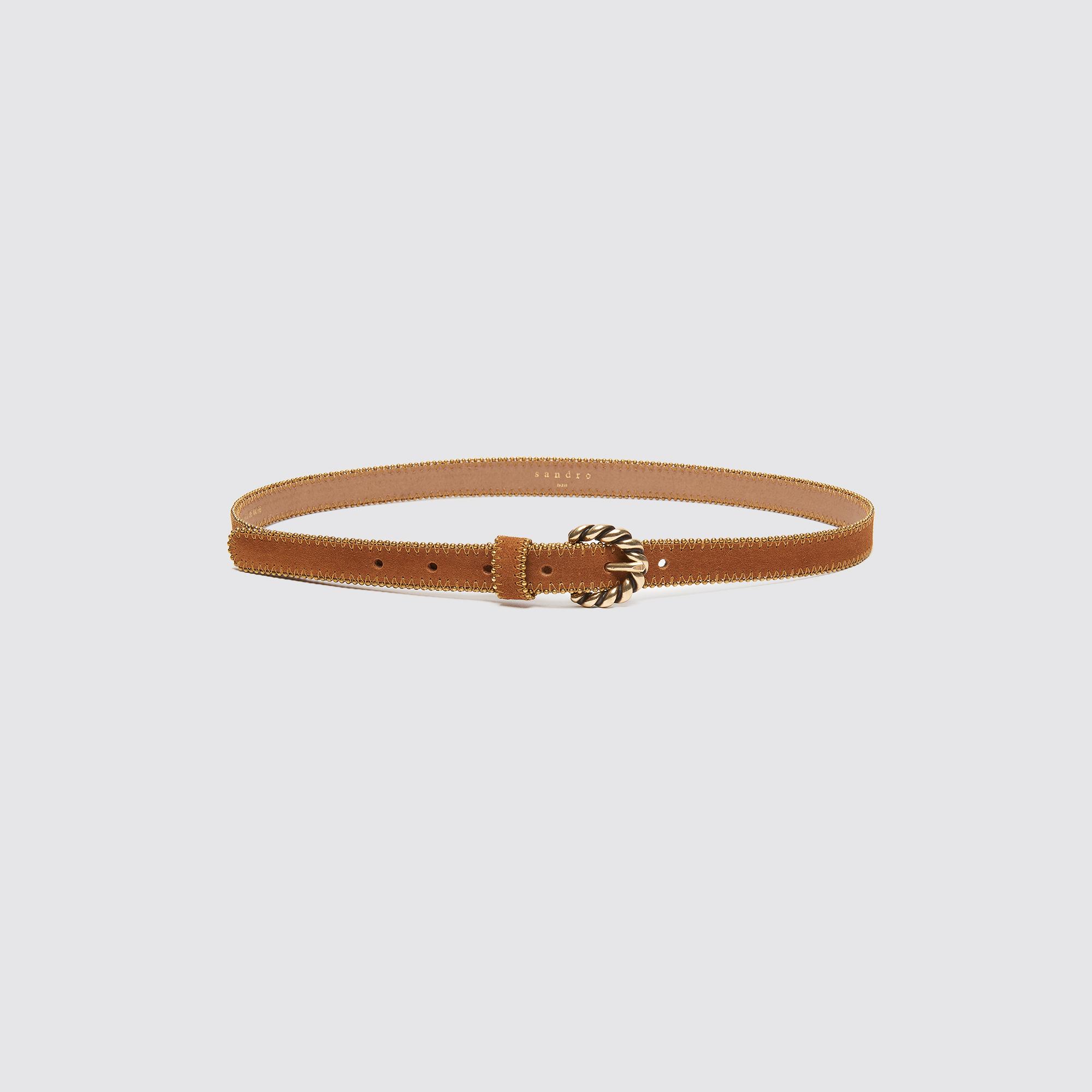 Cintura sottile con fibbia rotonda : Cinture colore Cammello