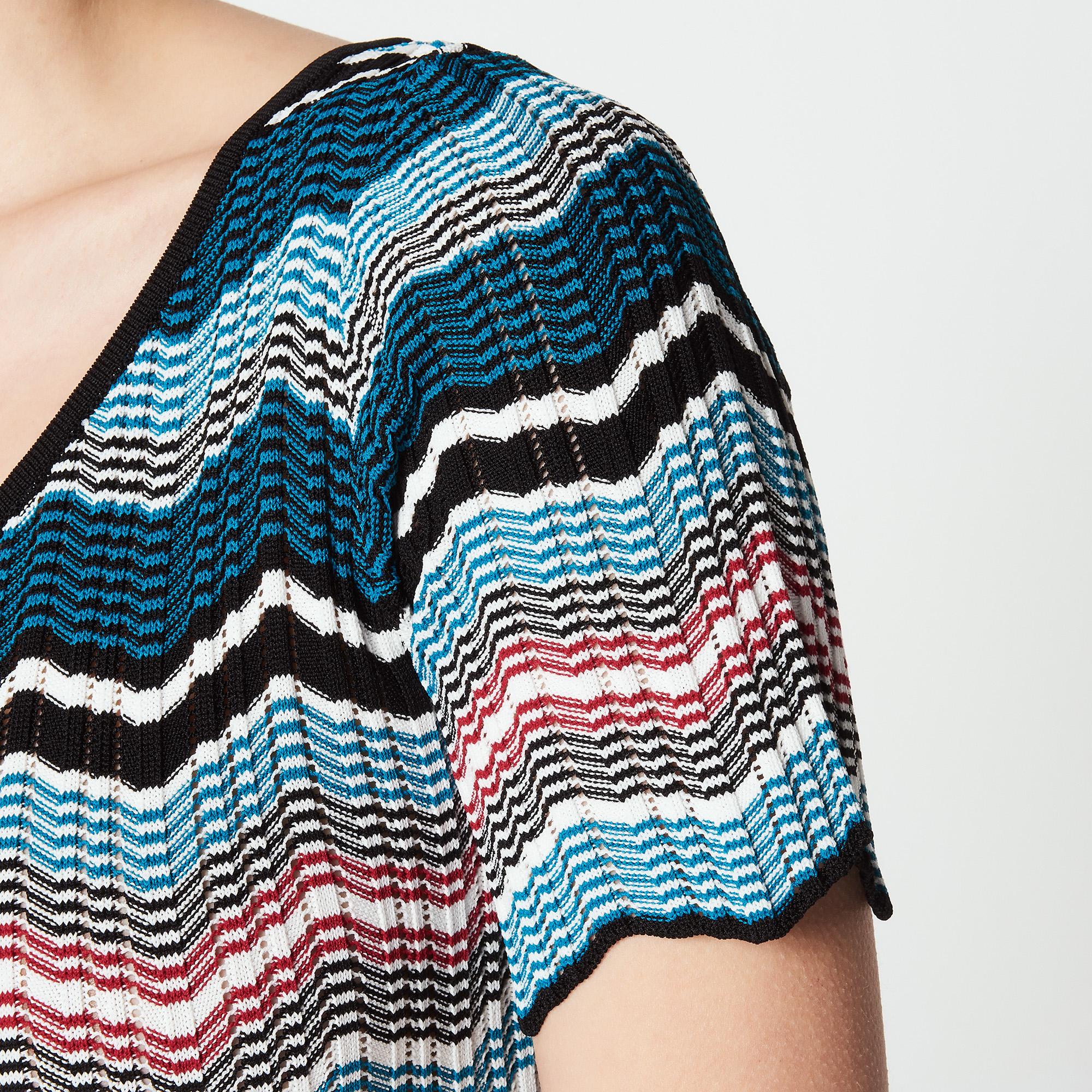 Vestito lungo in maglia a righe : Abiti colore Blu