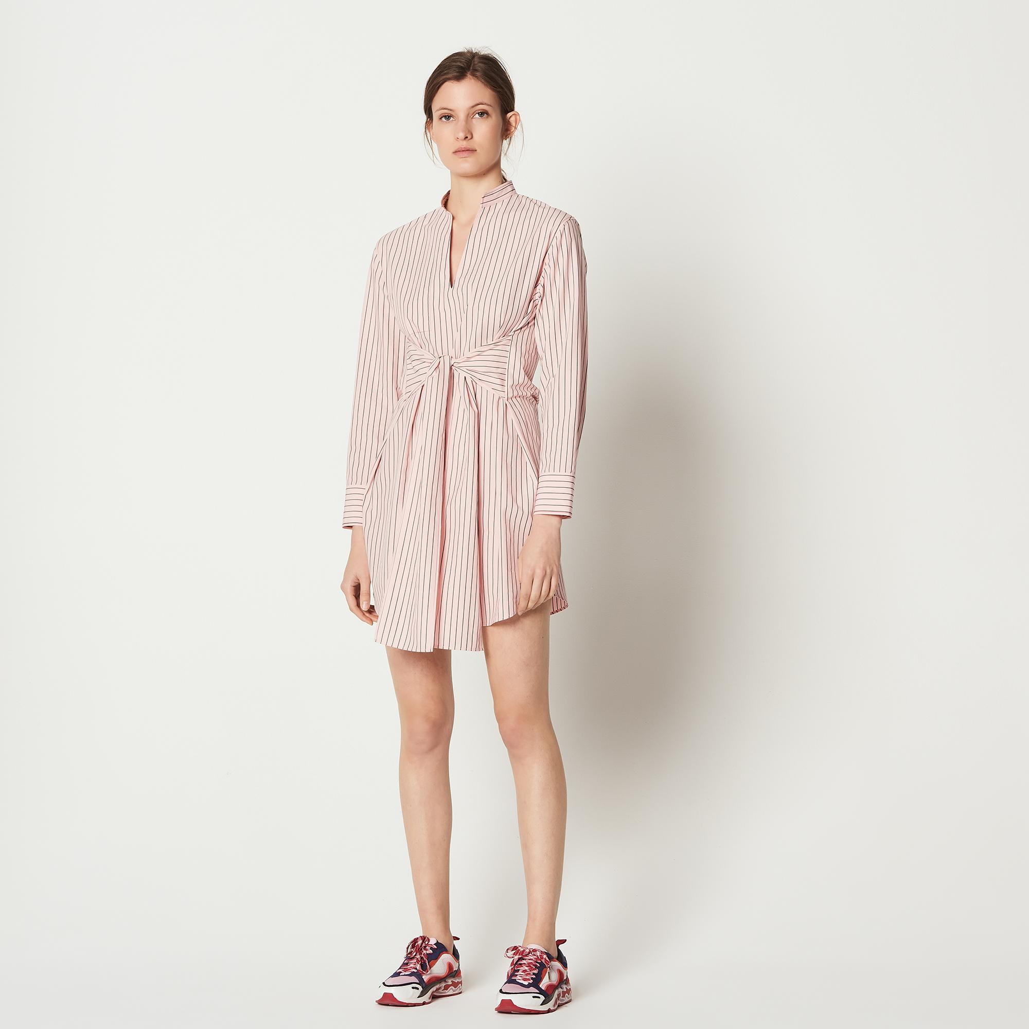 Abito a camicia a righe con cintura : Abiti colore Rosa