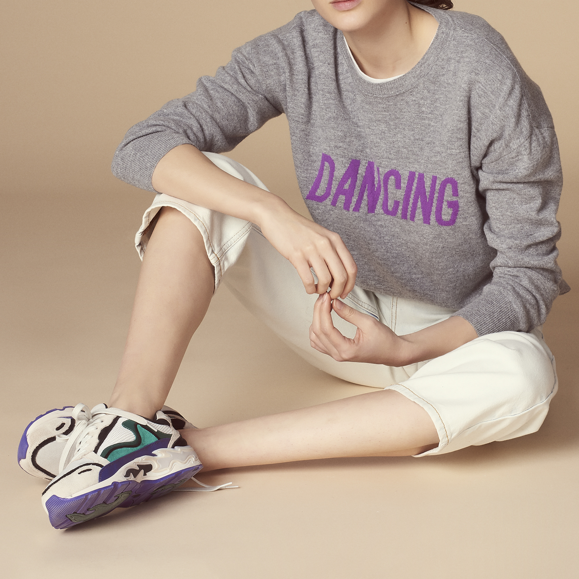 Pullover in lana e cashmere DANCING : Maglieria & Cardigan colore Grigio Screziato
