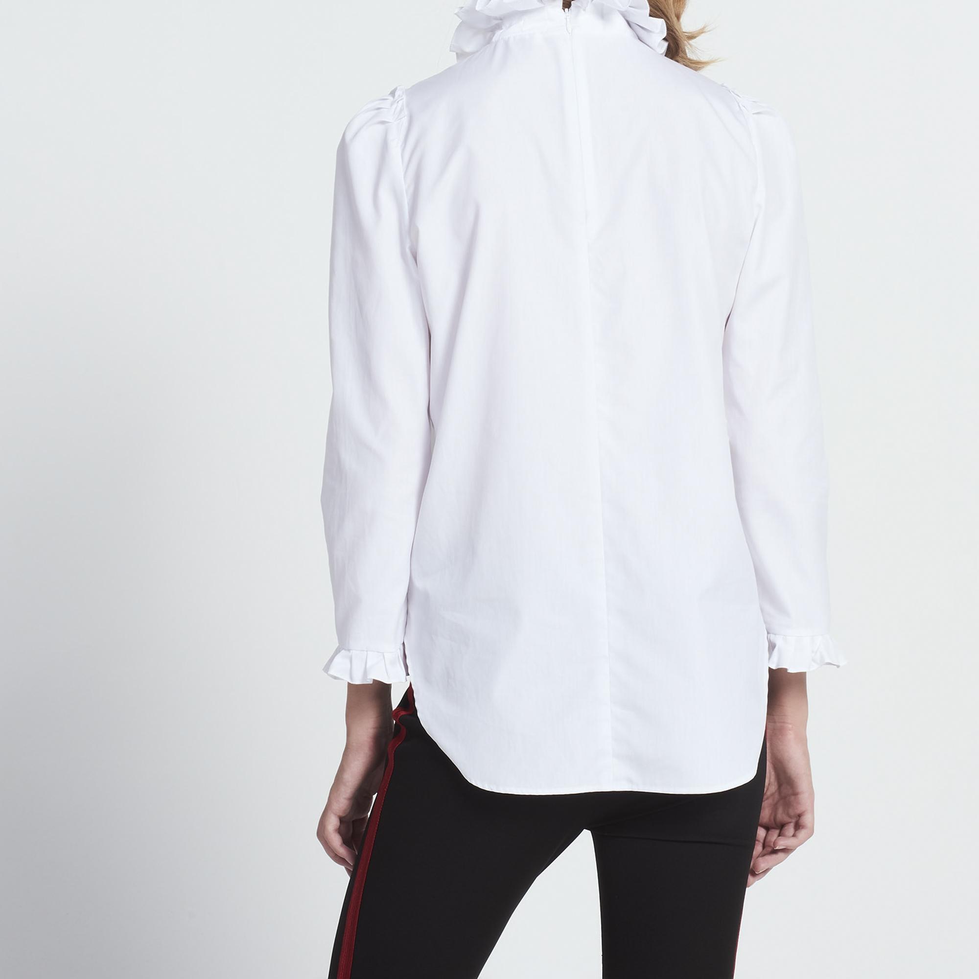 Top in cotone a collo alto con volant : Collezione Estiva colore Bianco