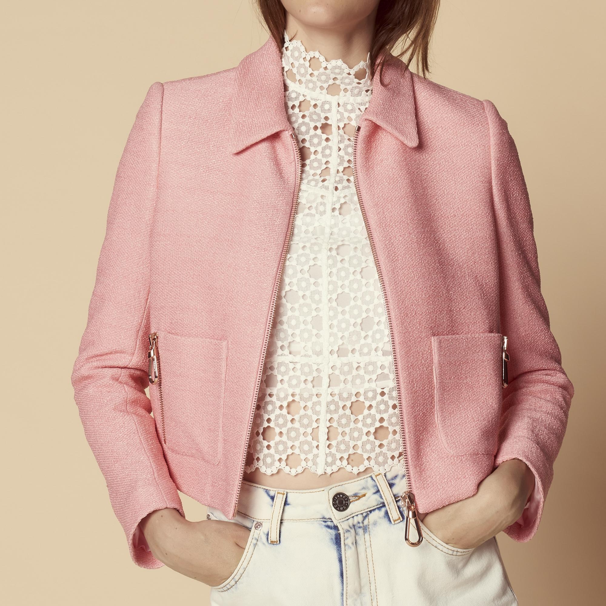 Giacca corta con zip : Giacche & Giubbotti colore Rosa
