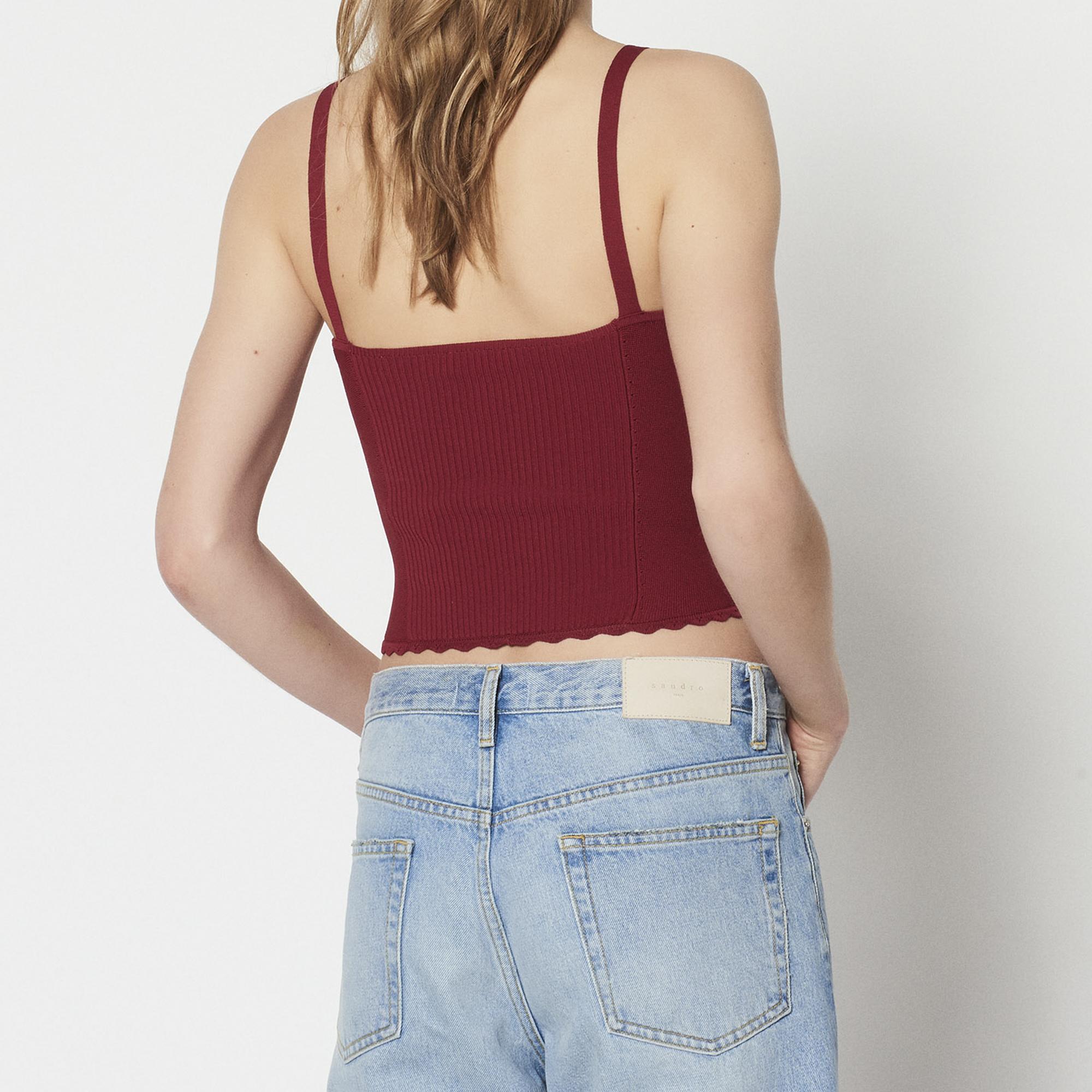 Crop top/brassière in maglia sottile : Top & Camicie colore Rouge Cuit