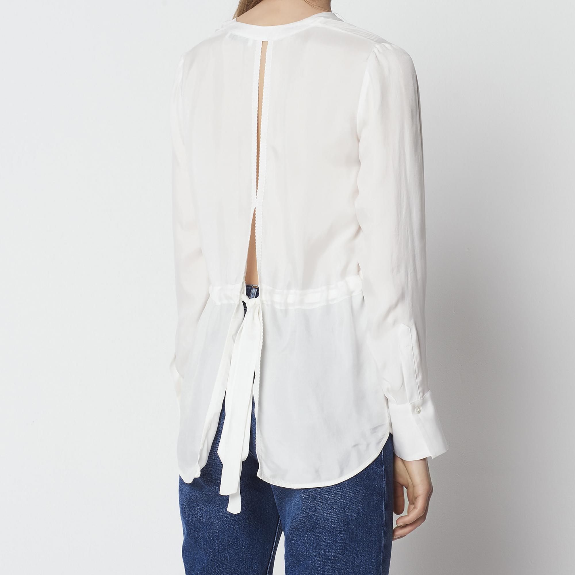 Camicia con inserto e nodo sul retro : Top & Camicie colore Ecru