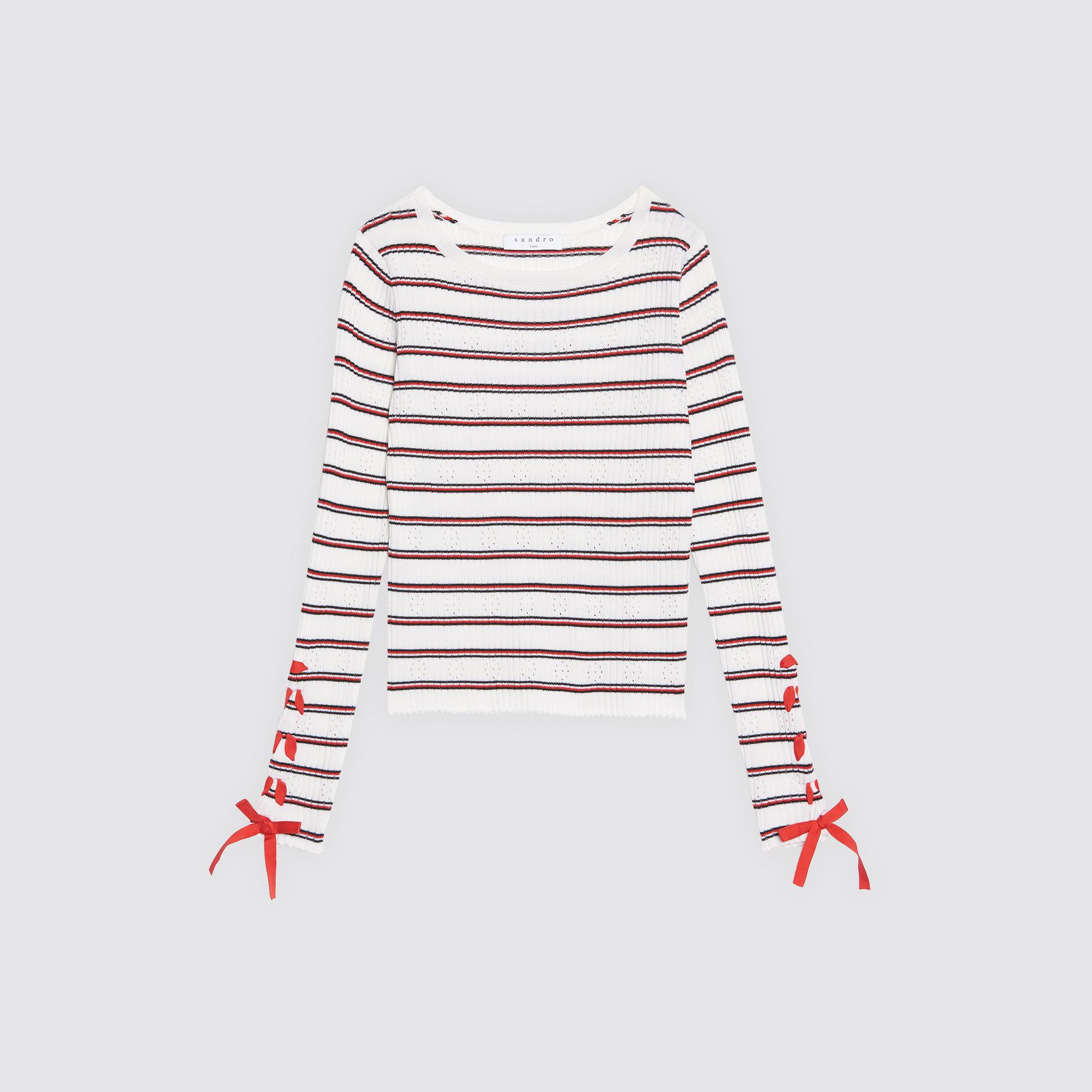 Pullover in misto lana maniche con lacci : Collezione Estiva colore Rosso