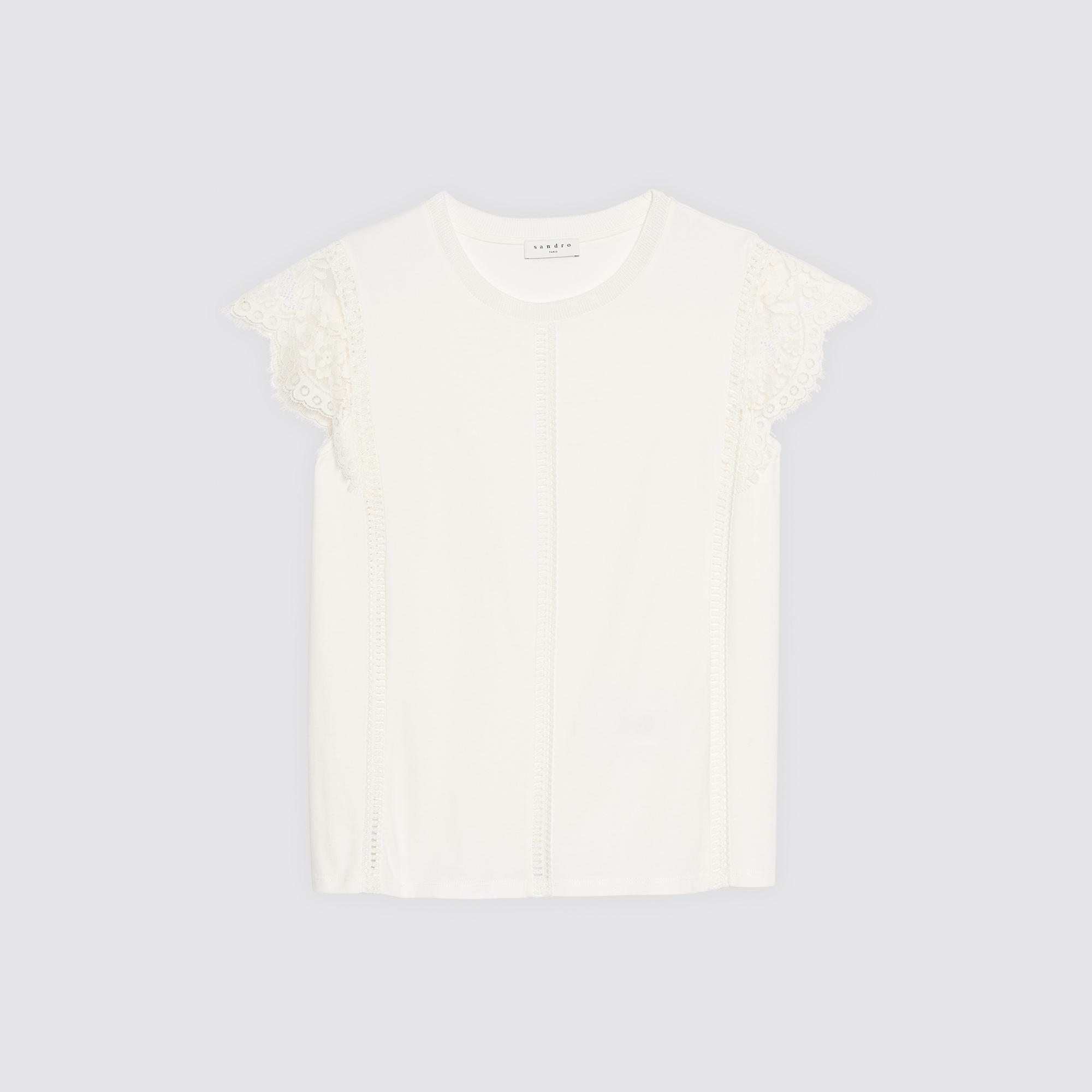 T-shirt con pizzo sulle spalle : Magliette colore Ecru