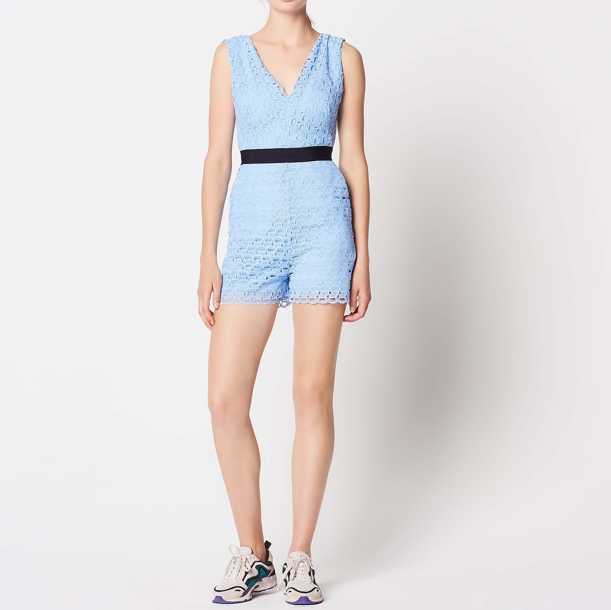 Combishort in pizzo all-over : Tute colore Sky Blue
