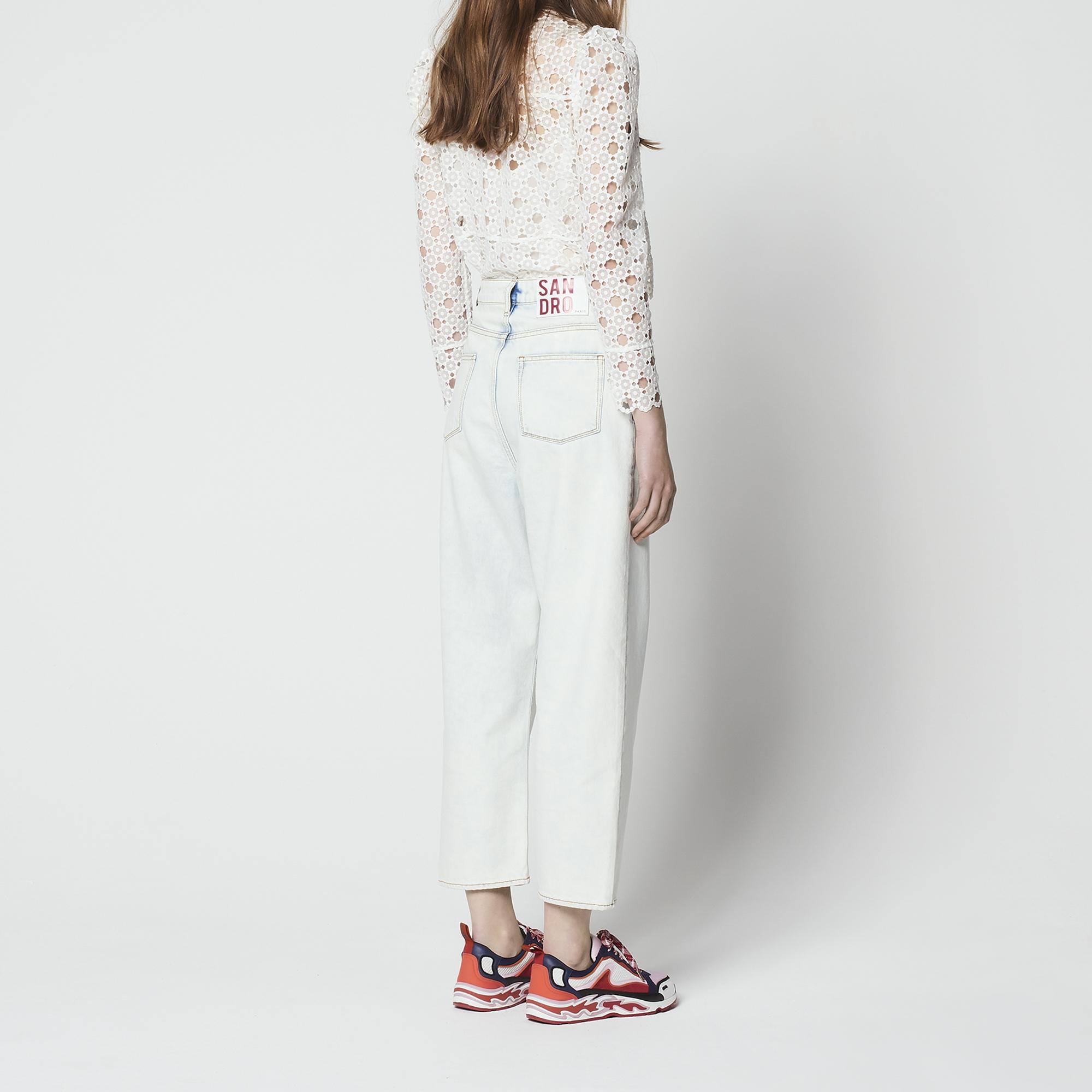 Jeans a vita alta effetto délavé : Jeans colore Bleached - Denim