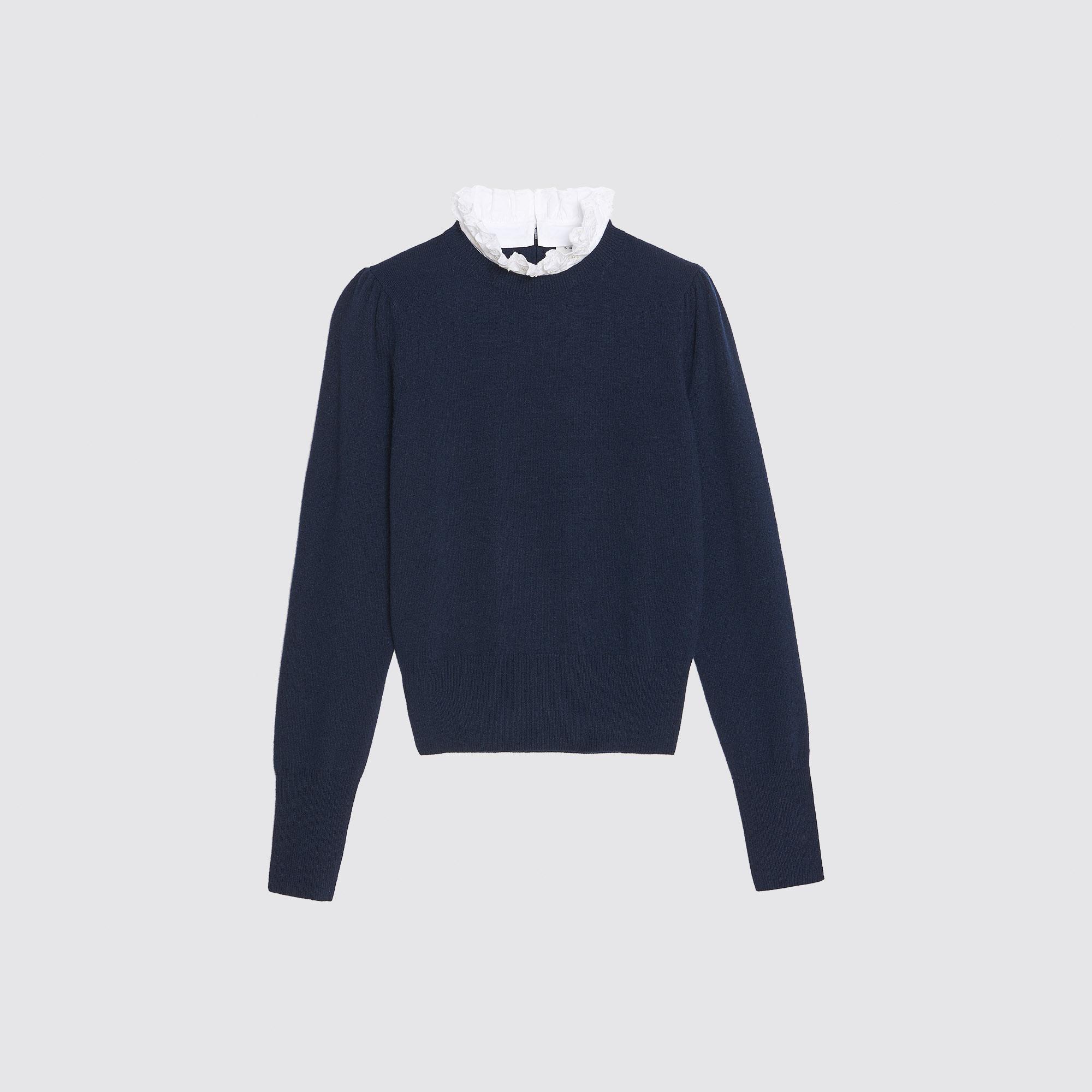 Pullover lana-cashmere collo a contrasto : Maglieria & Cardigan colore Blu Marino