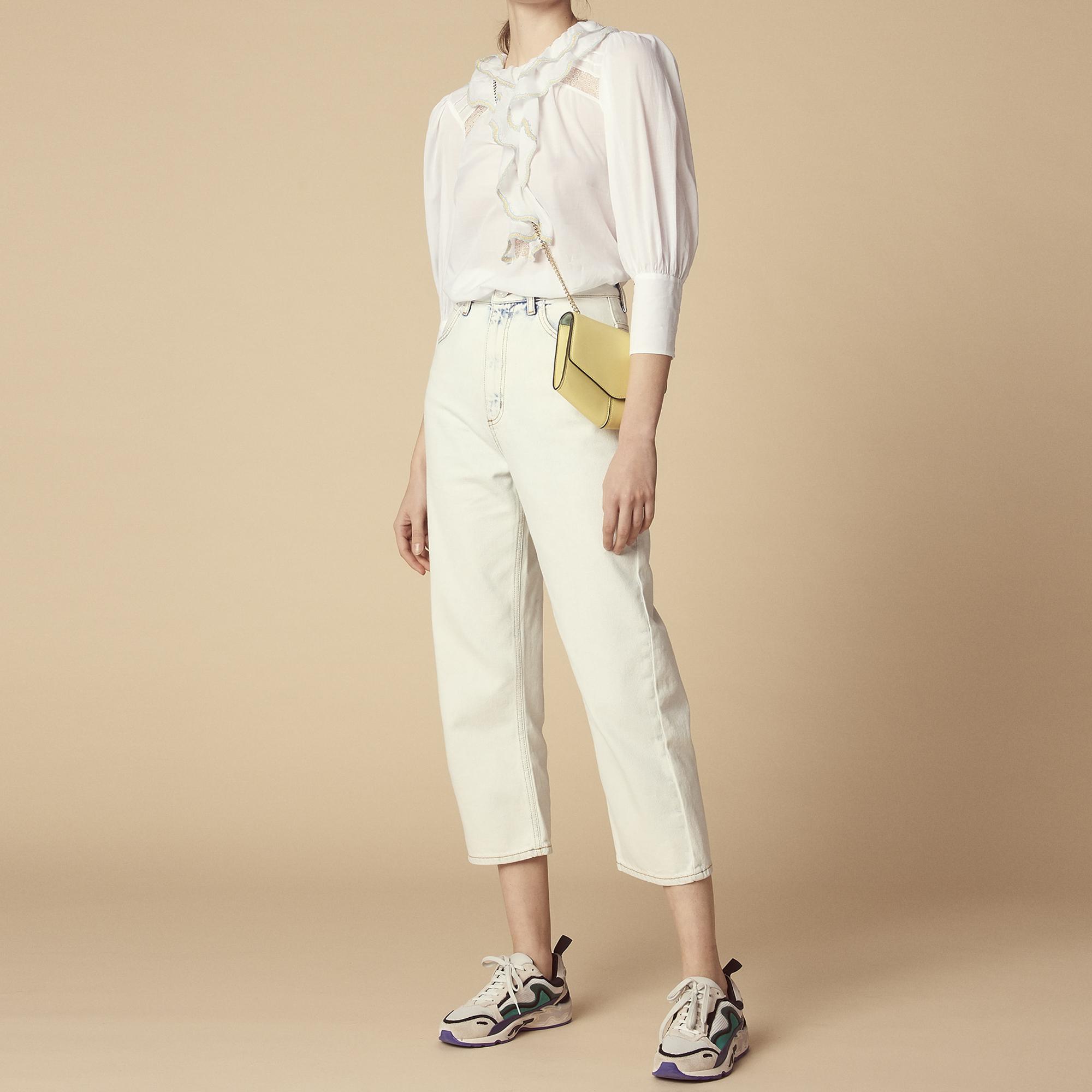 Top con inserto trasparente e volant : Top & Camicie colore Bianco