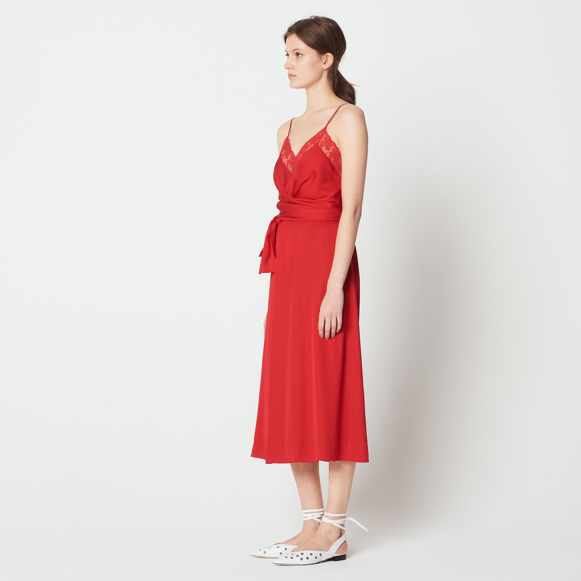 Abito fluido con spalline e cintura : Abiti colore Rouge écarlate