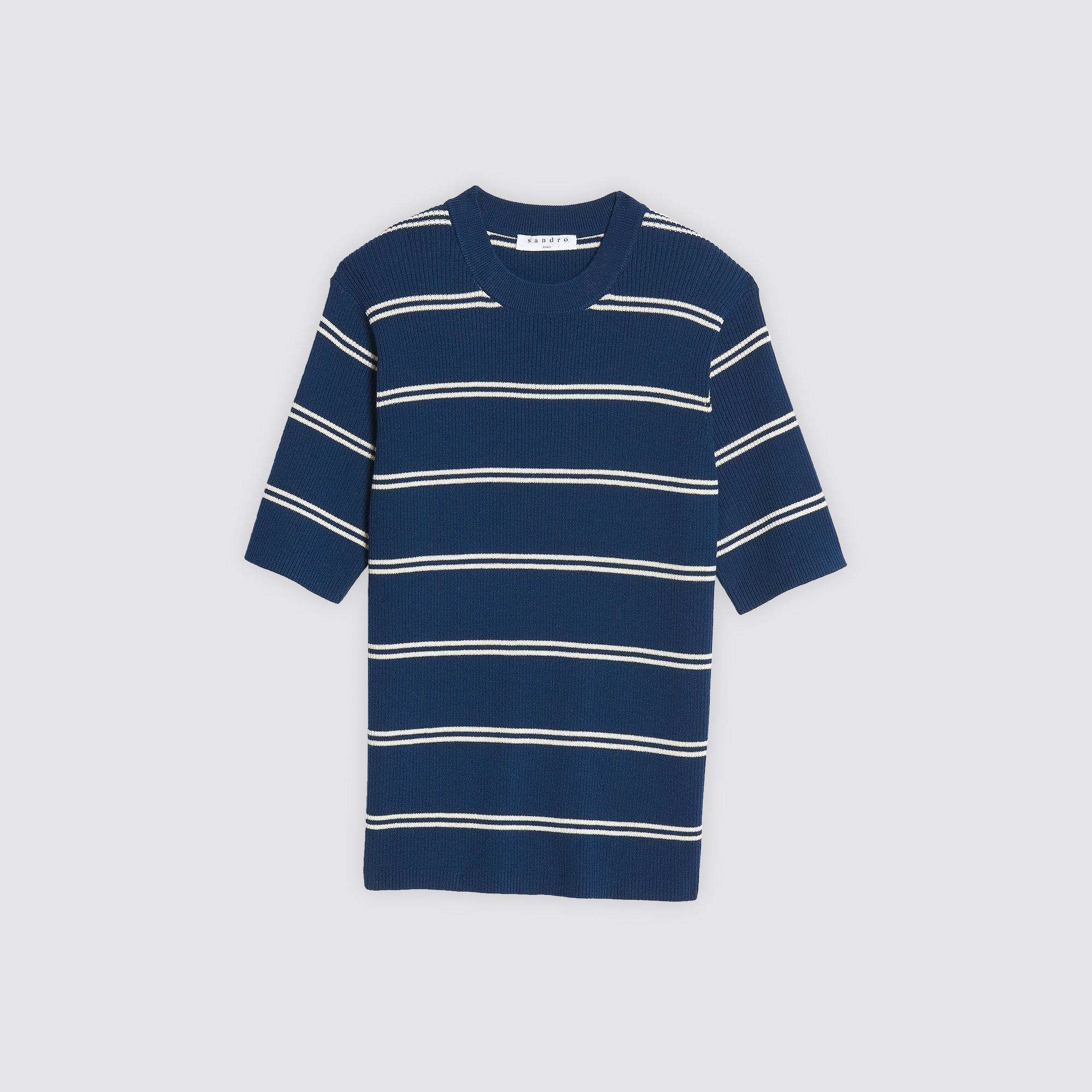 Pullover a righe con maniche corte : Collezione Estiva colore Blu