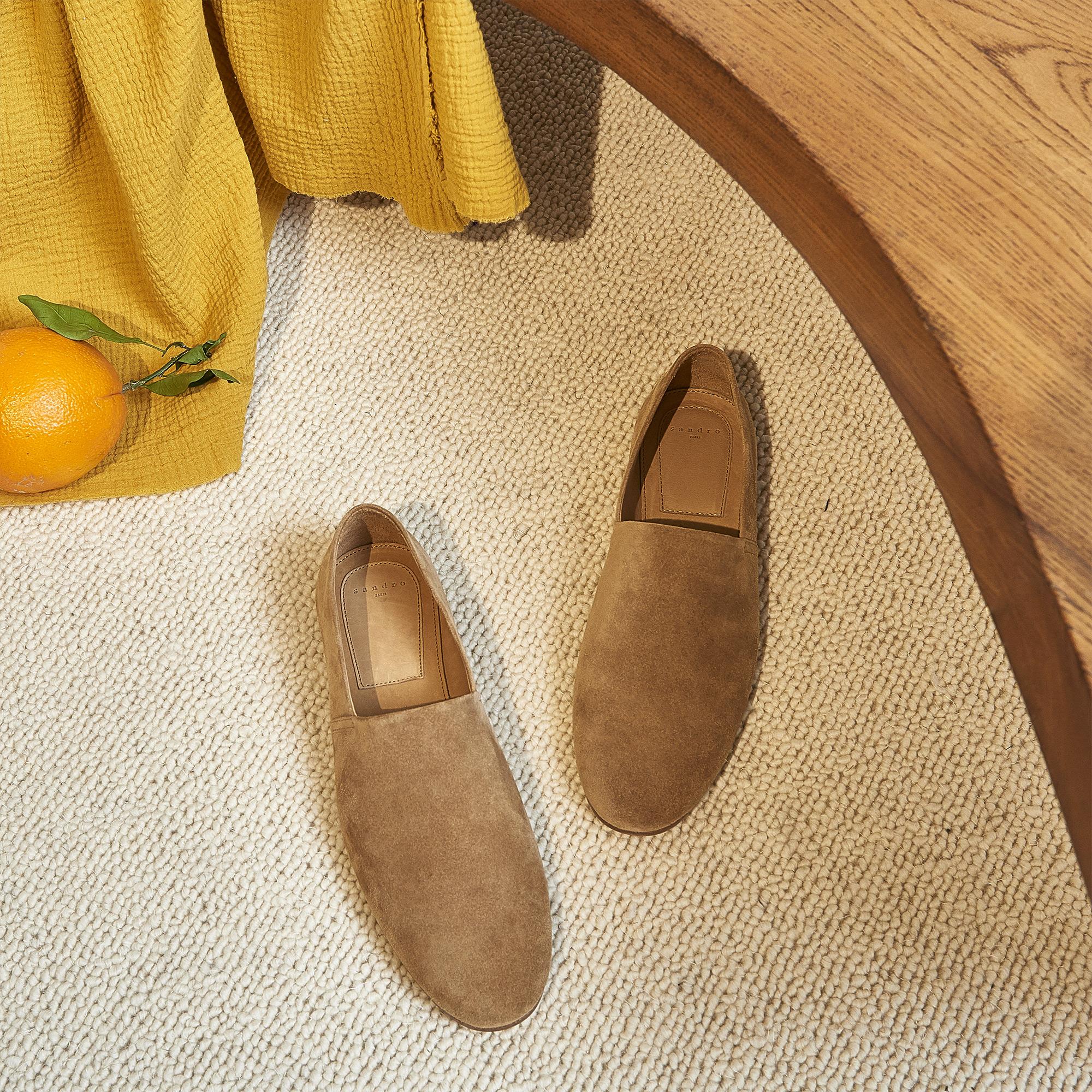 Slipper in pelle scamosciata : Scarpe colore Cammello