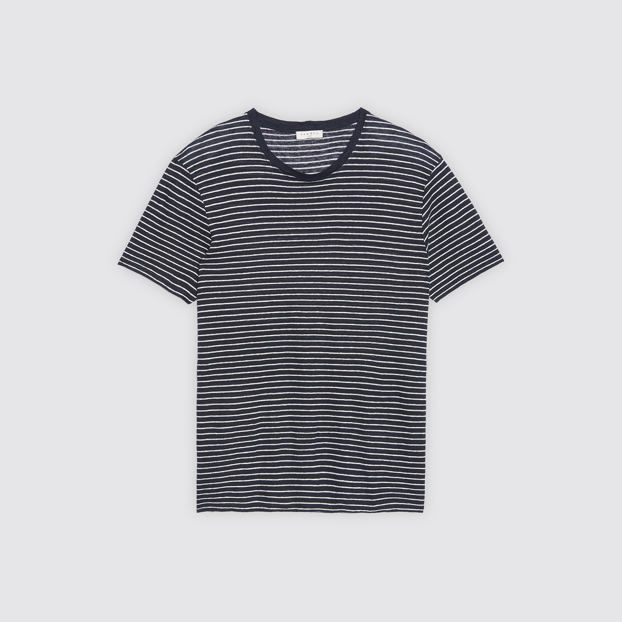 T-shirt in lino a righe : Collezione Estiva colore Blu Marino