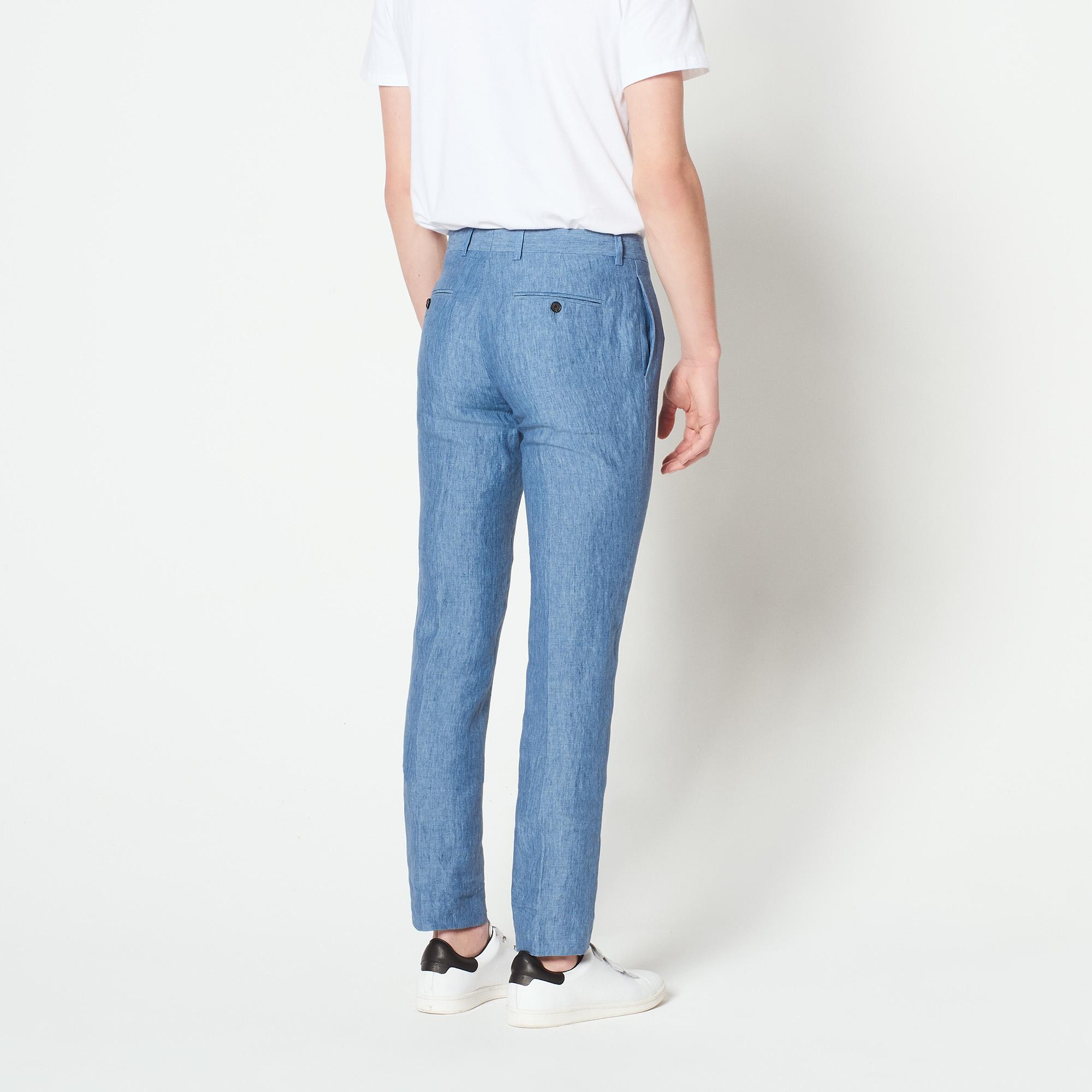 Pantaloni slim fit in lino : Abiti & Smoking colore Blu
