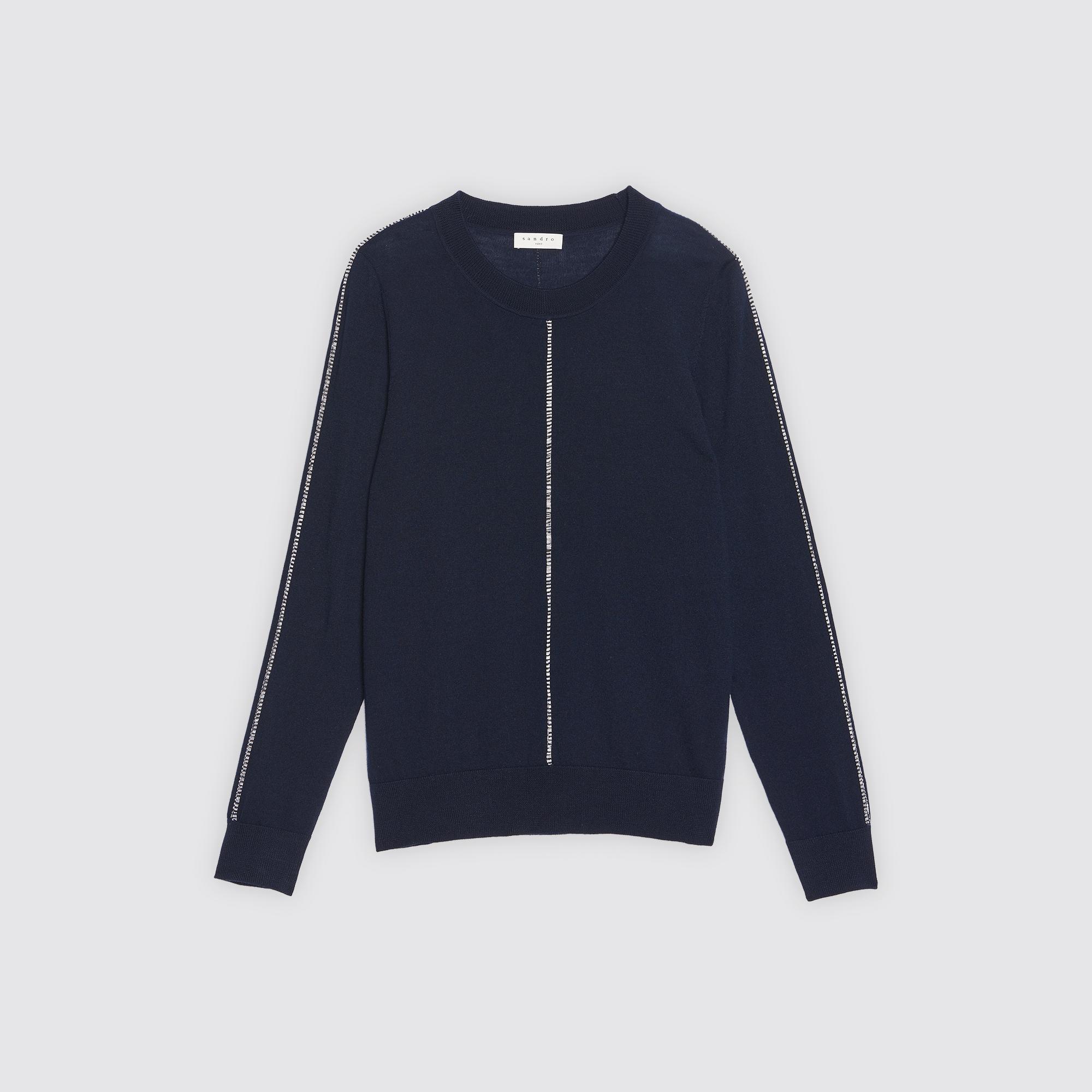 Pullover in lana con decorazioni : Collezione Estiva colore Blu Marino