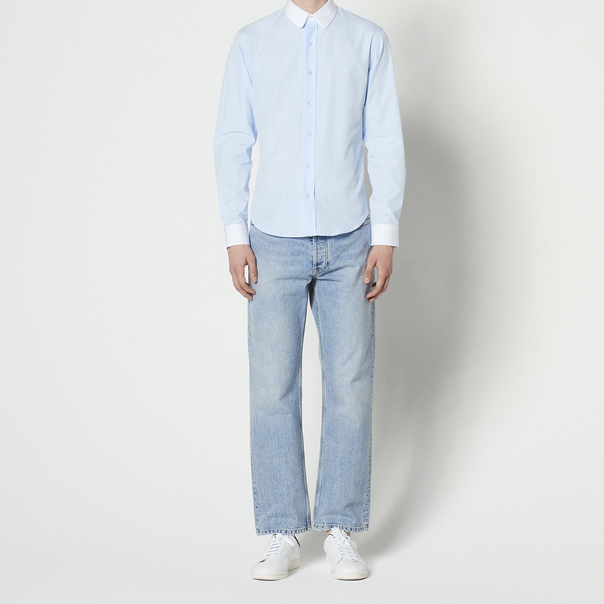 Camicia con collo e polsini a contrasto : Collezione Estiva colore Sky Blue