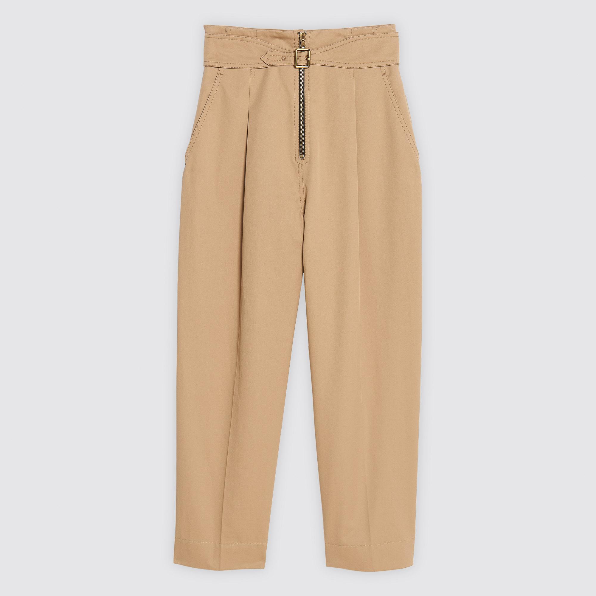 Pantaloni in cotone con zip e cintura : Collezione Estiva colore Beige