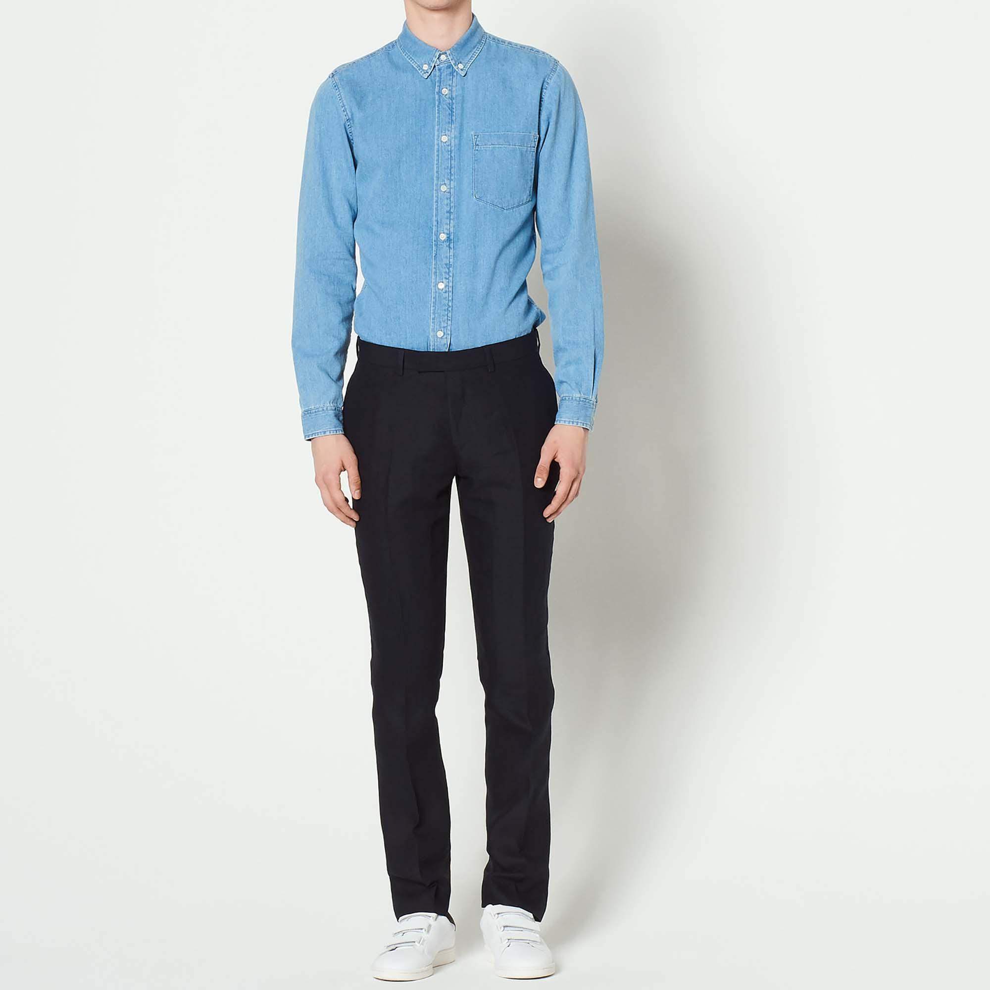 Pantaloni da completo in lino : Abiti & Smoking colore Blu Marino