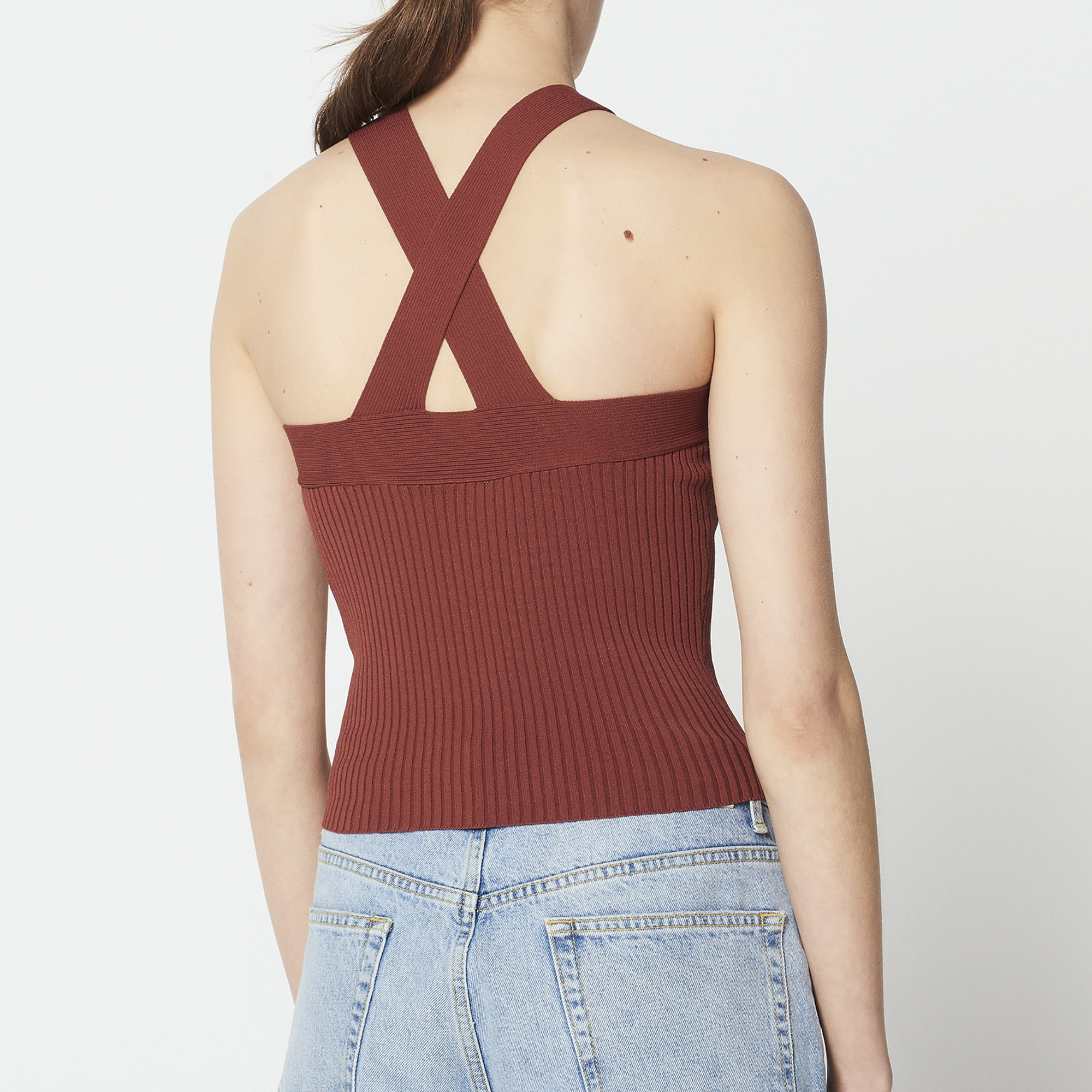 Top maglia sottile spalline incrociate : Top & Camicie colore Terre de feu