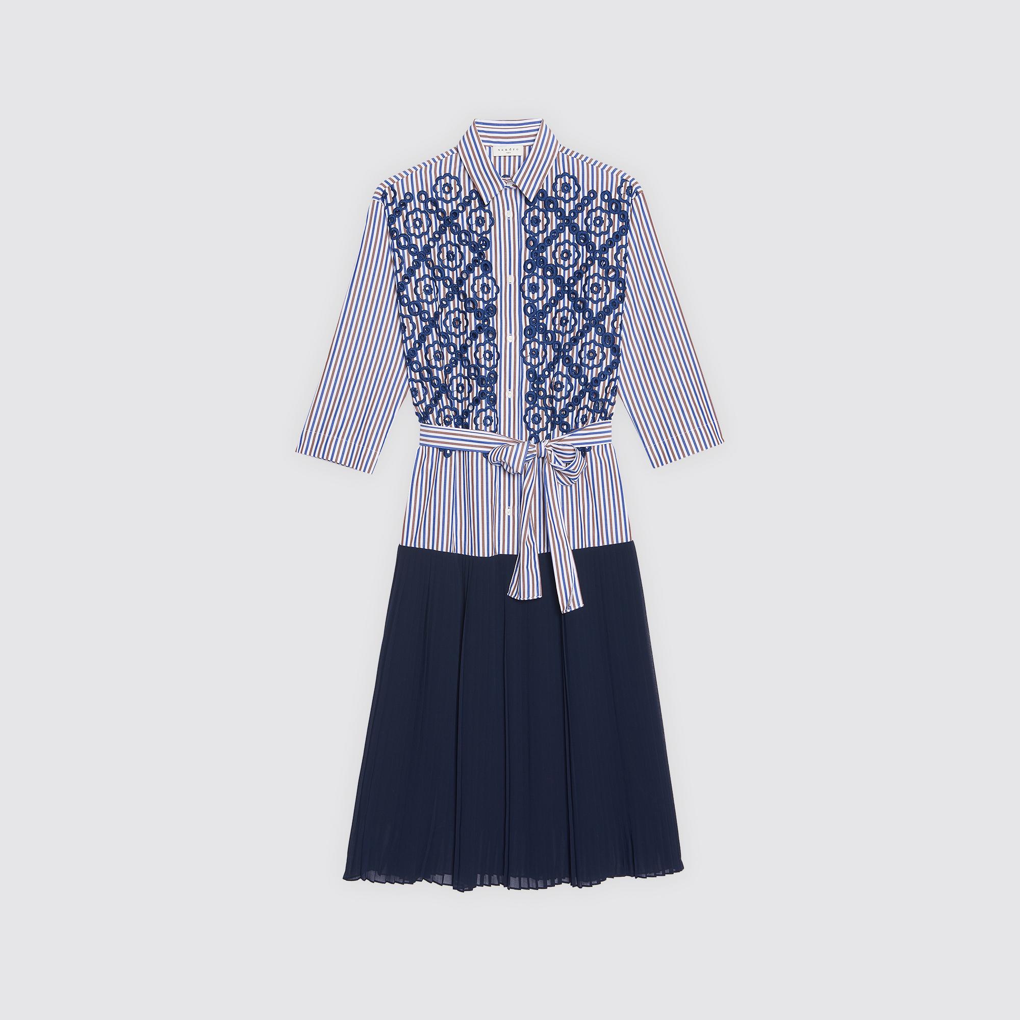 Abito a camicia longuette plissettato : Abiti colore Blu Notte