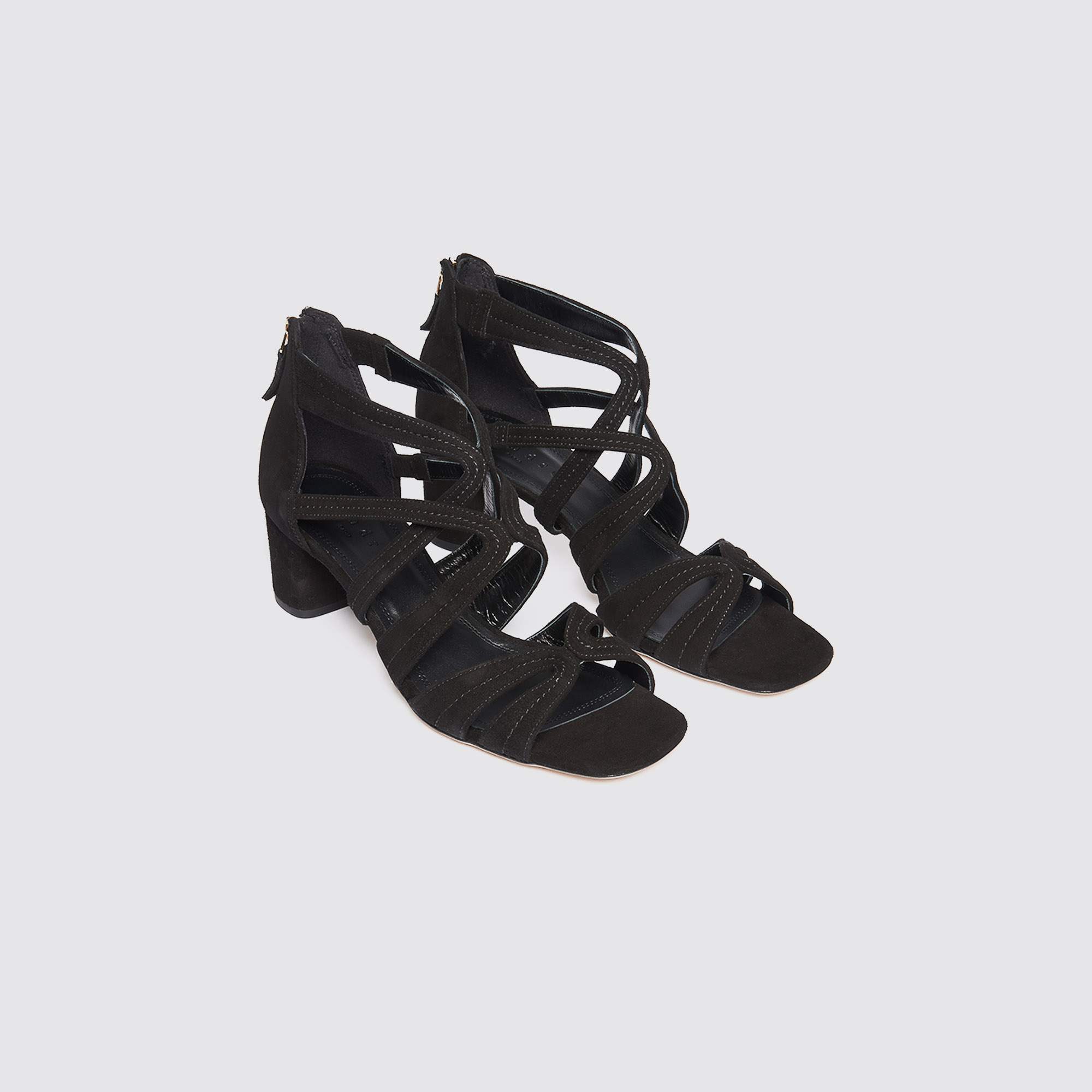Sandali con il tacco in pelle : Sandali colore Nero