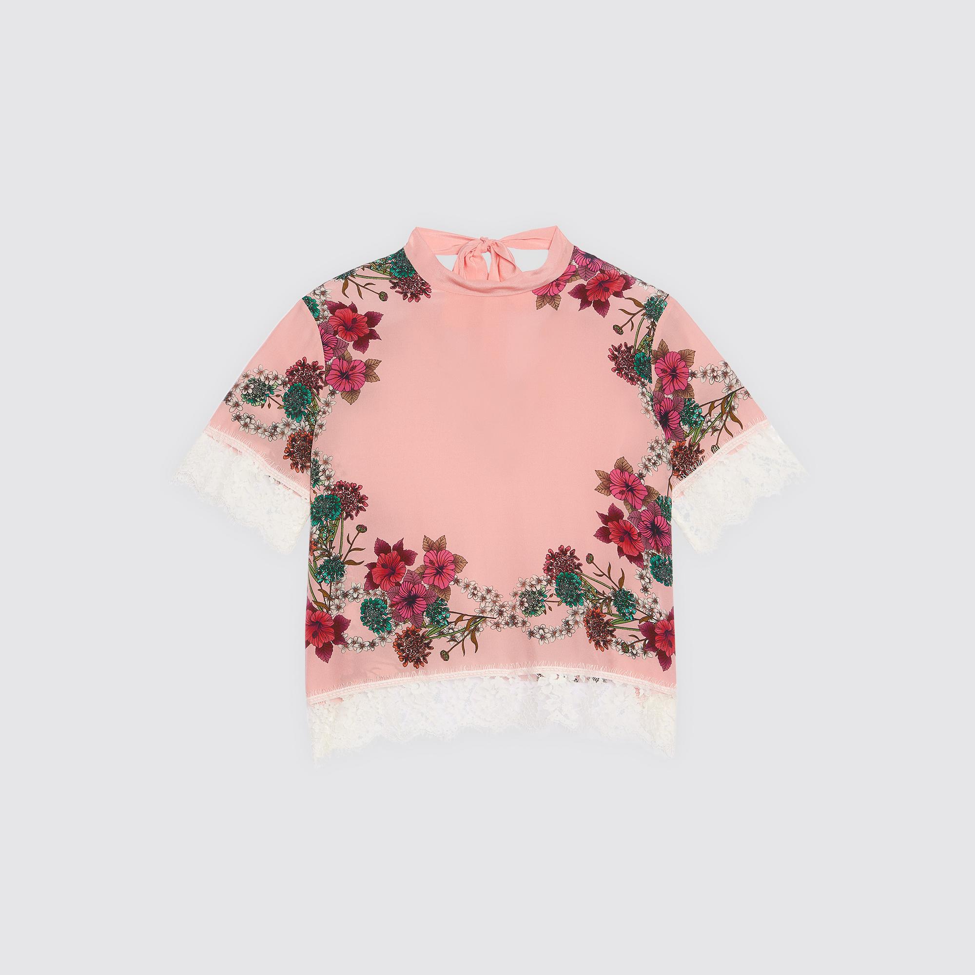 Top in seta con motivo : Top & Camicie colore Rosa