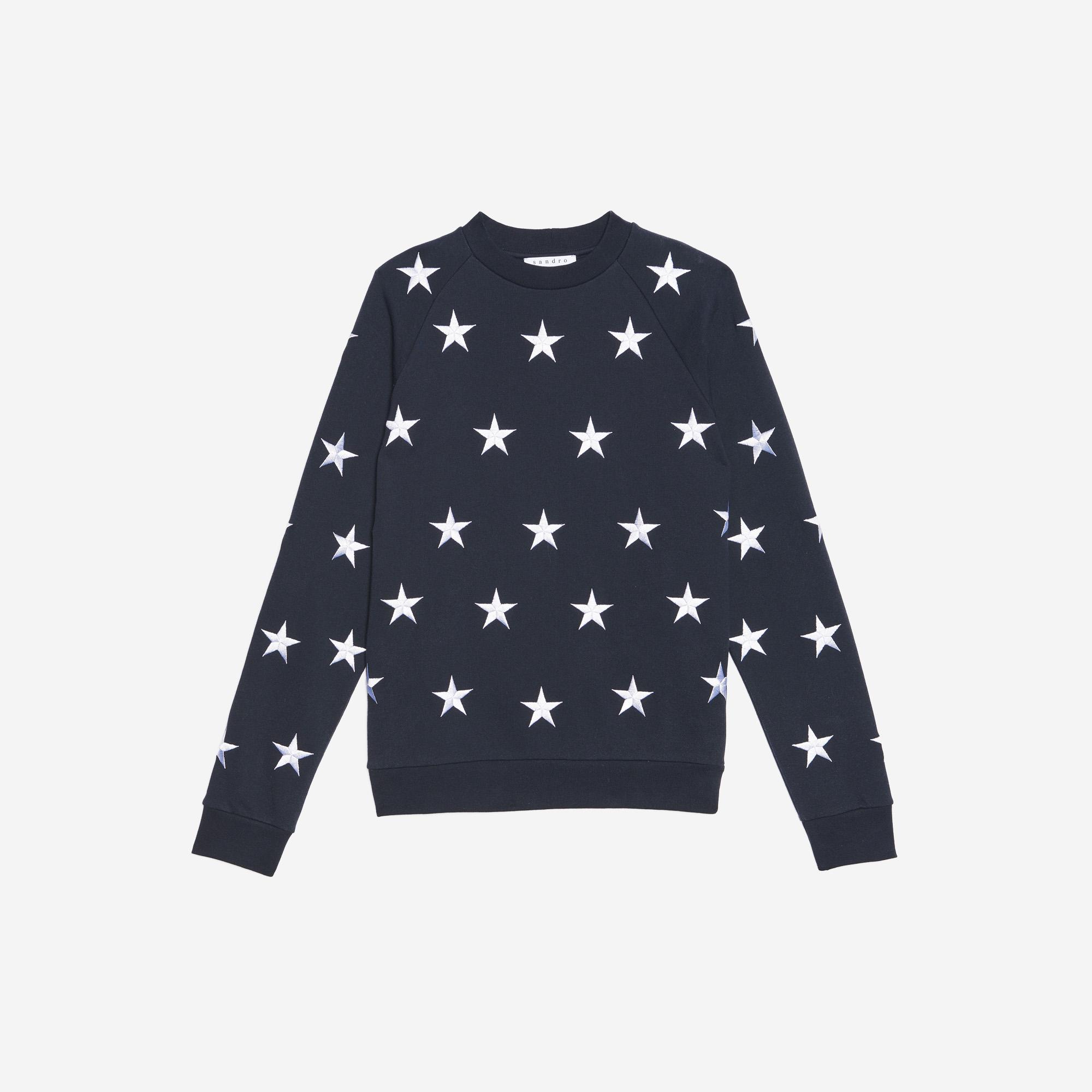 Felpa con stelle ricamate : Collezione Estiva colore Blu Marino