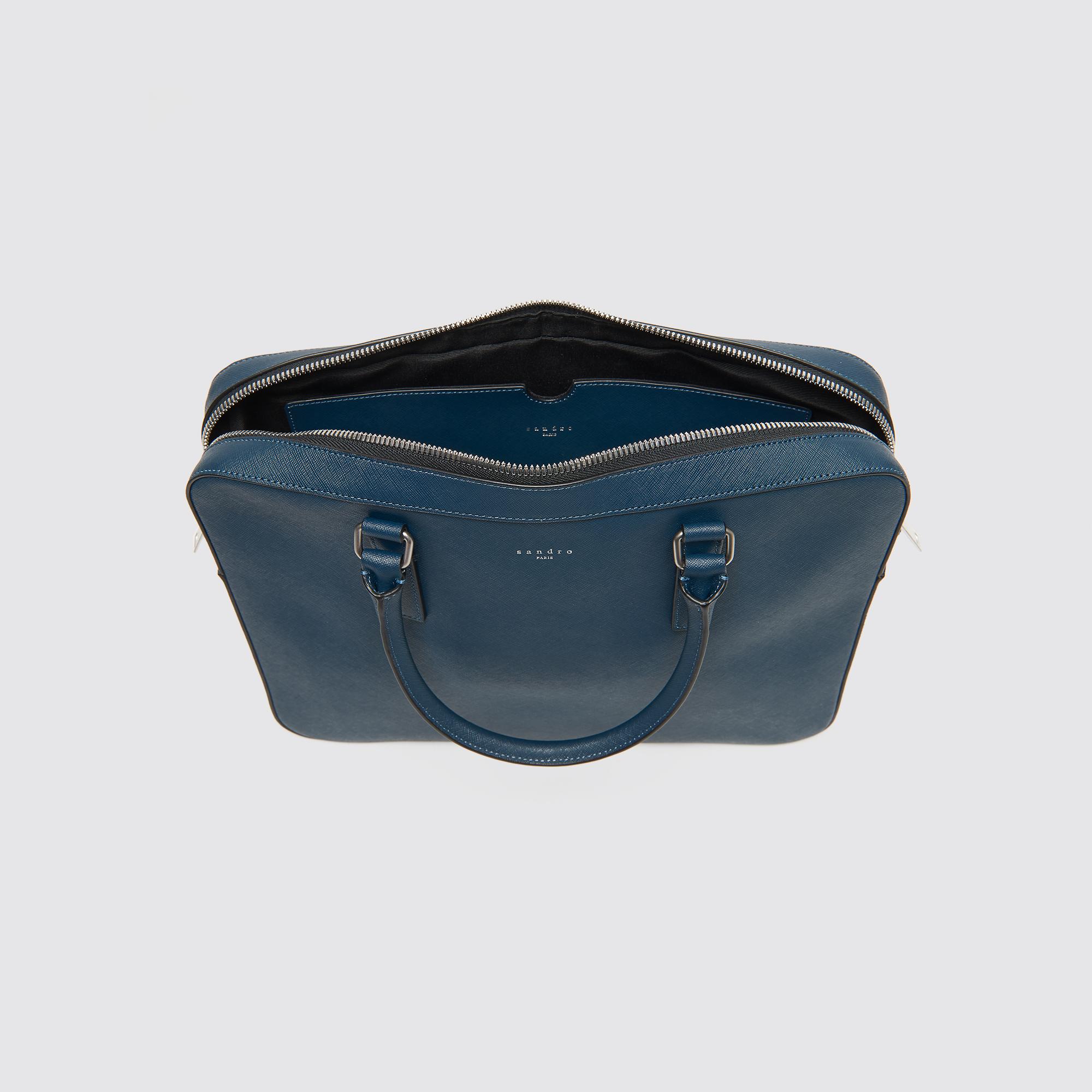 Ventiquattrore in pelle Saffiano : Tutta la Pelletteria colore Blu Bondi