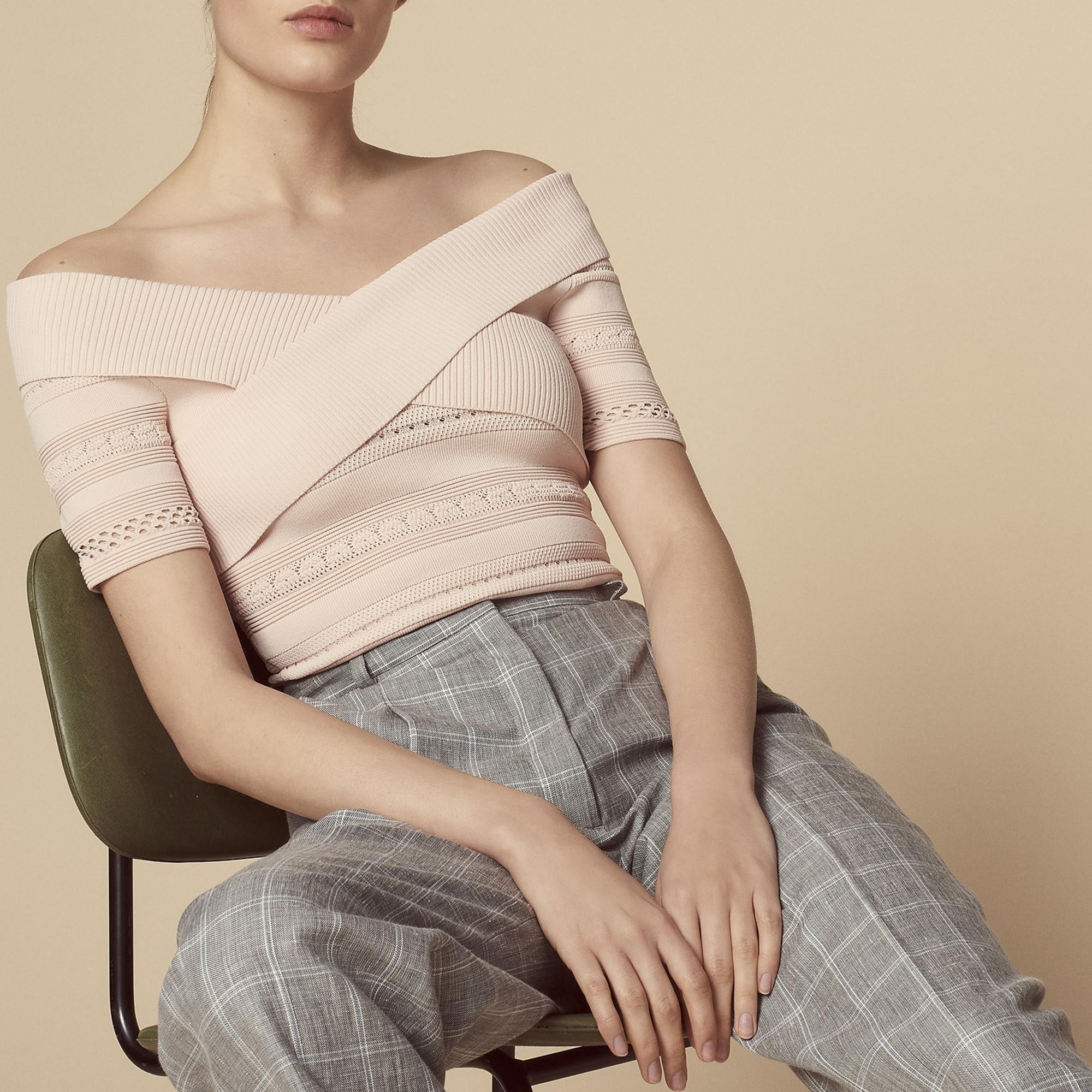 Pullover corto in maglia lavorata : Collezione Estiva colore Blu
