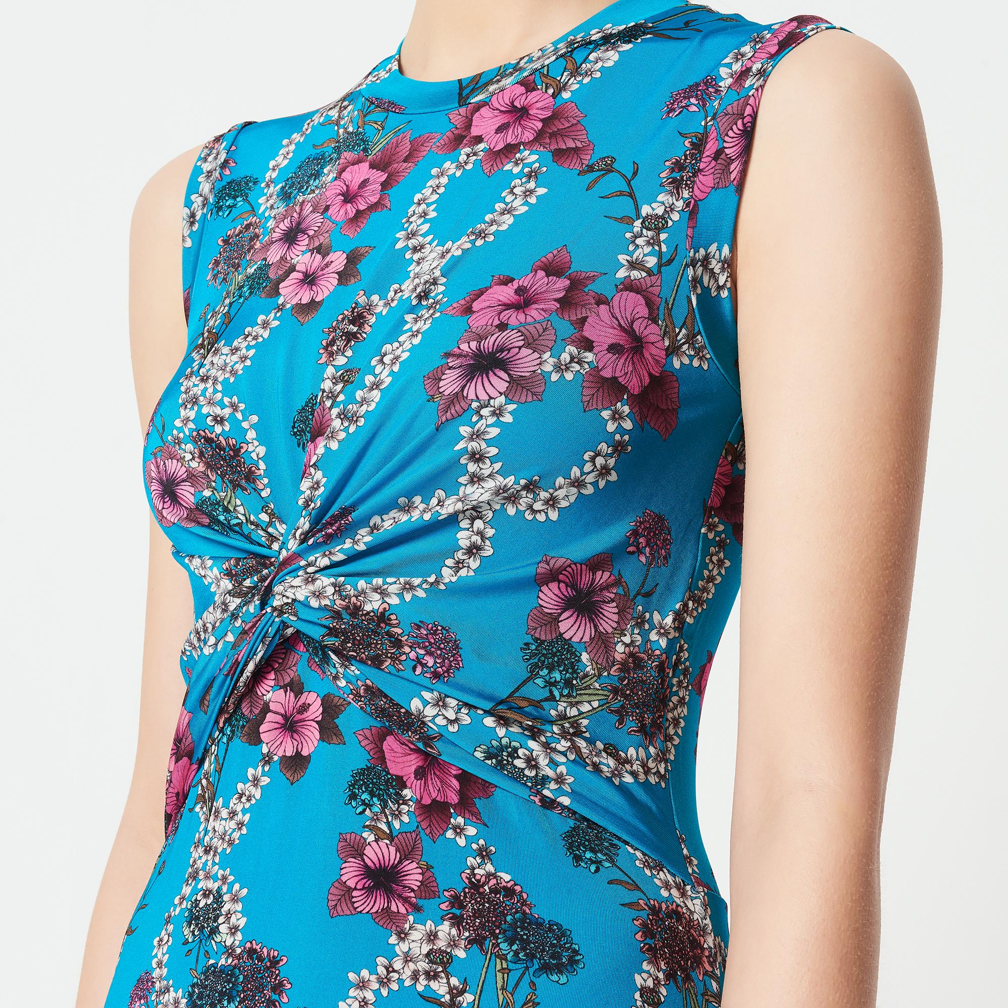 Abito lungo in jersey stampa floreale : Abiti colore Blu