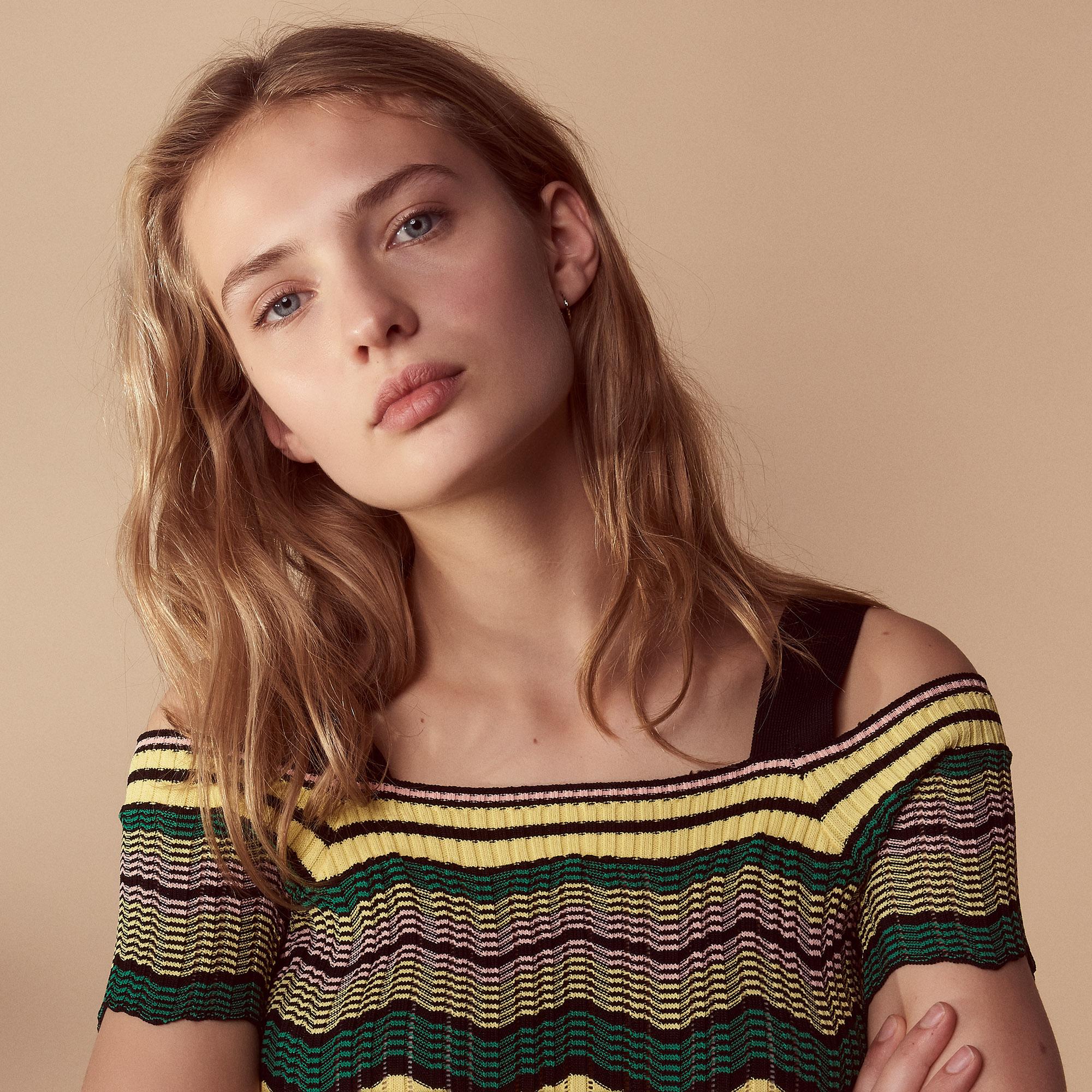 Top in maglia con spalle scoperte : Maglieria & Cardigan colore Giallo pallido