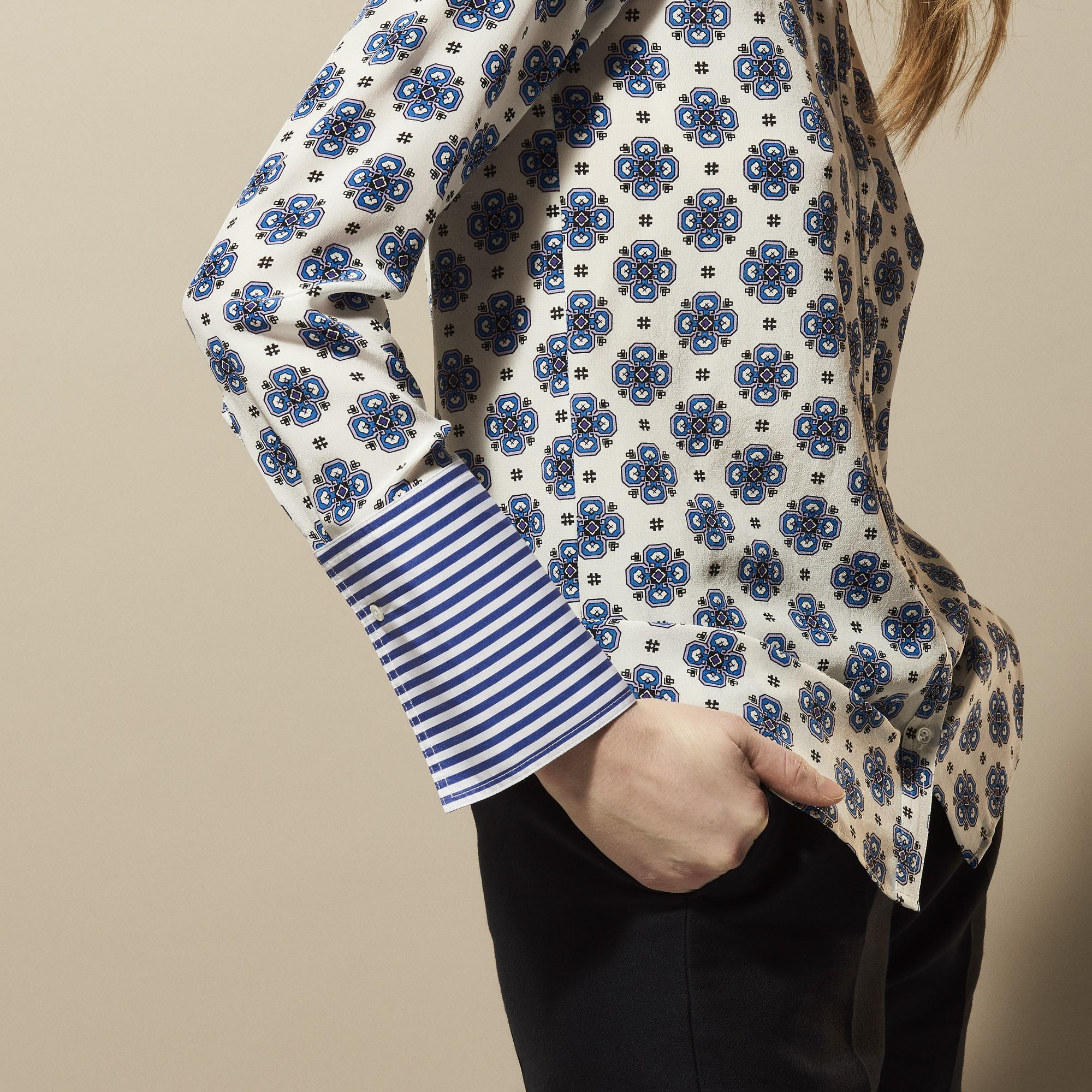 Camicia in seta stampata : Collezione Estiva colore Bianco