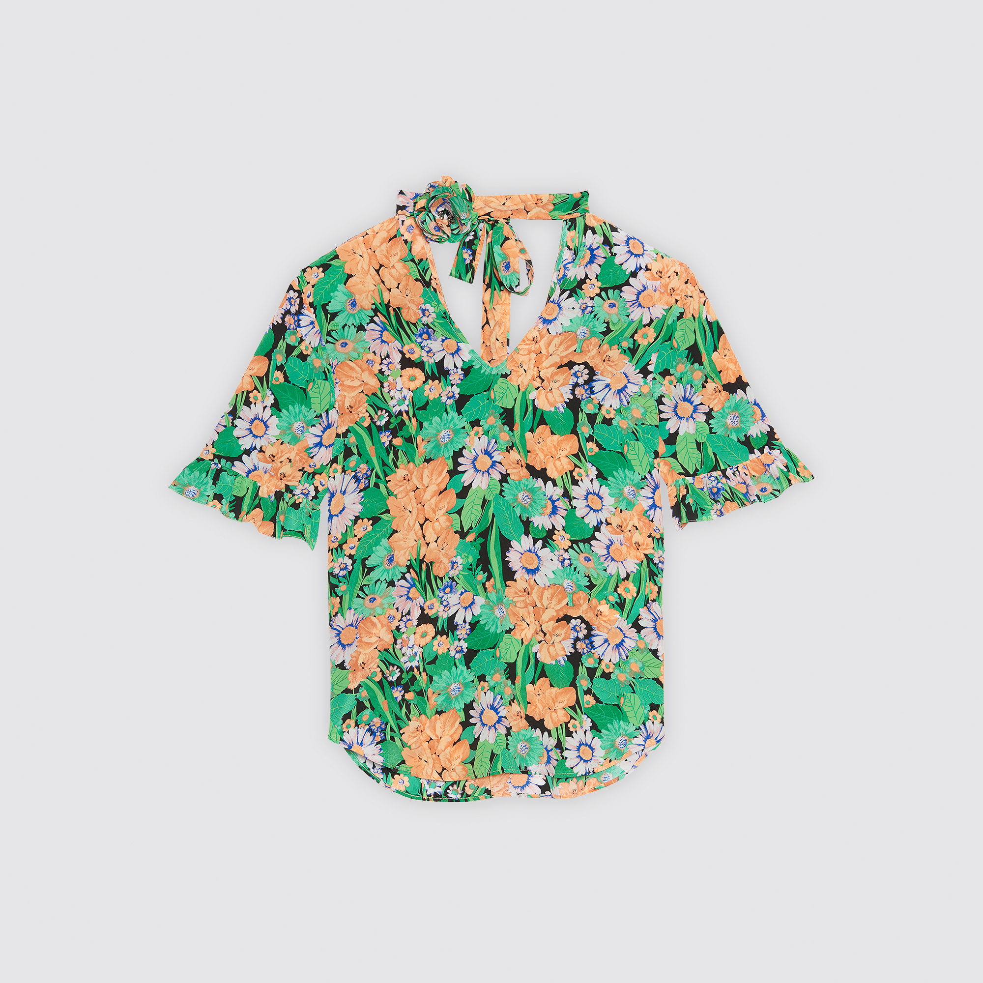 Top 100% seta con stampa floreale : Top & Camicie colore Vert Amande