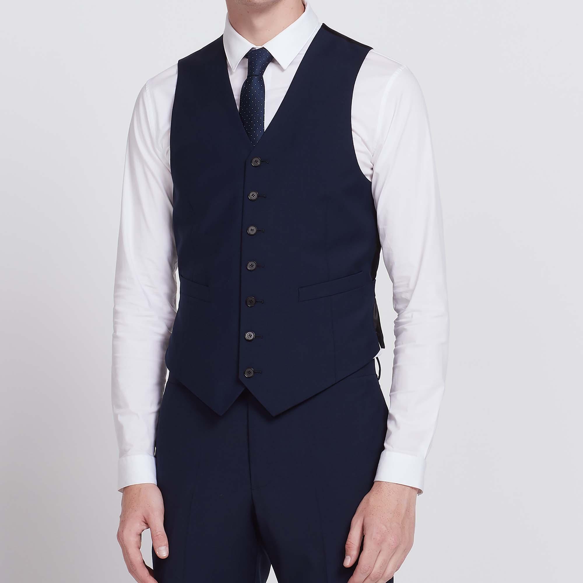 Gilet slim fit in lana Super 100s : Collezione Estiva colore Blu