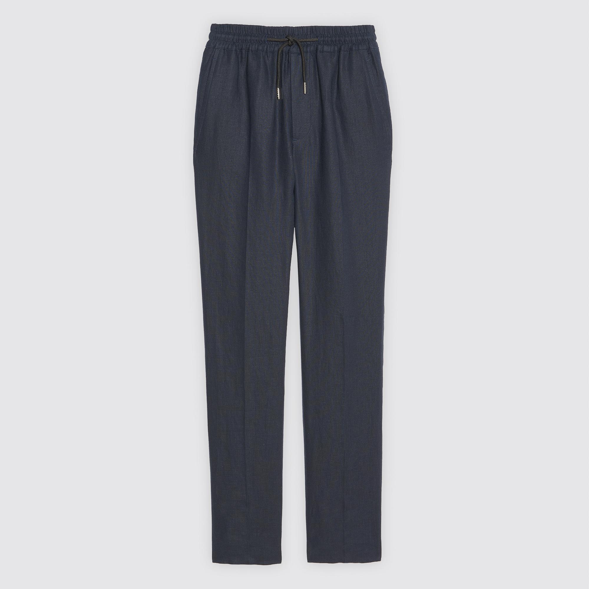 PANTALONI DA CITTÀ IN LINO : Pantaloni & Short colore Blu Marino