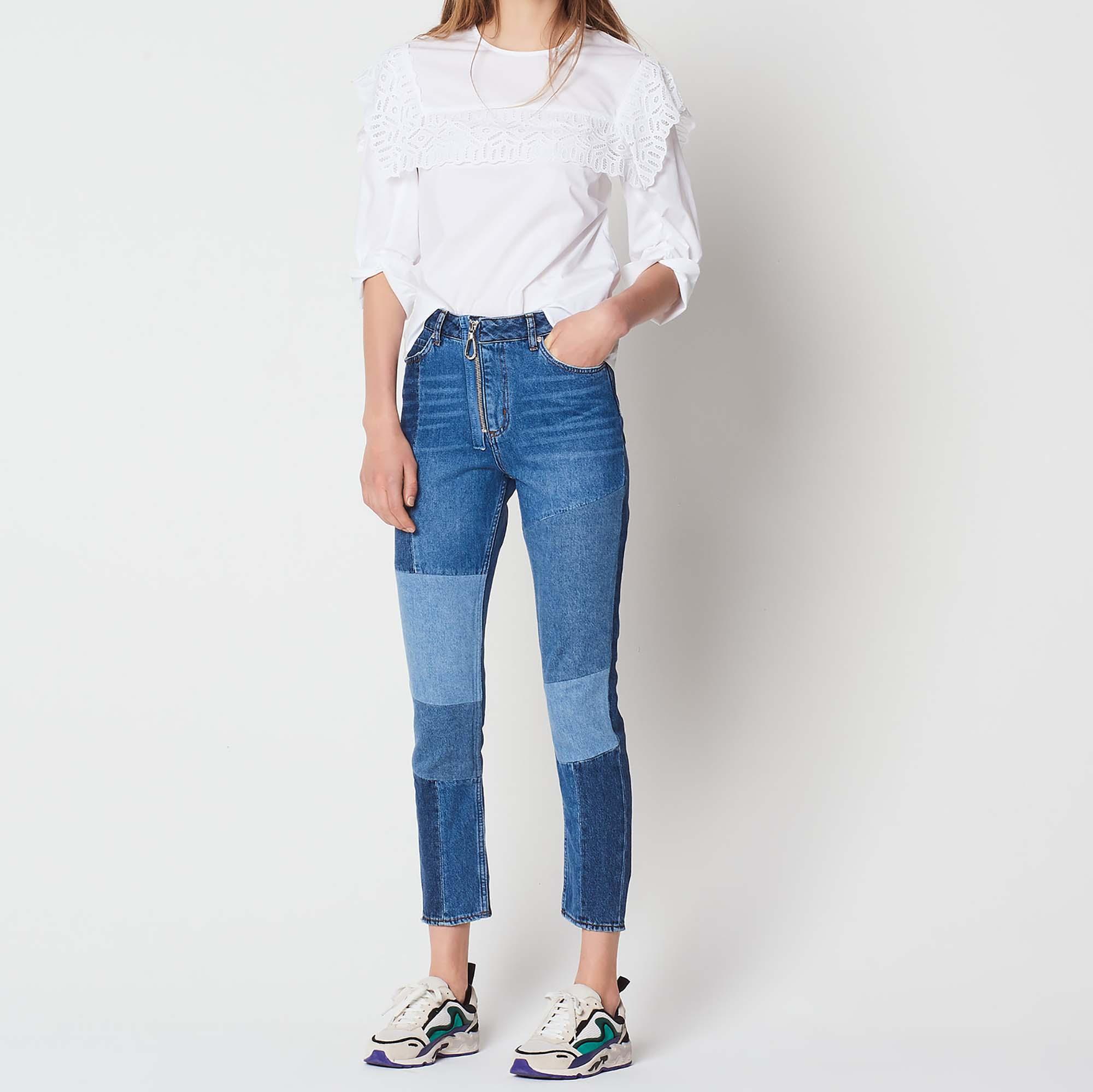 Jeans in cotone patchwork con zip : Collezione Estiva colore Blue Vintage - Denim