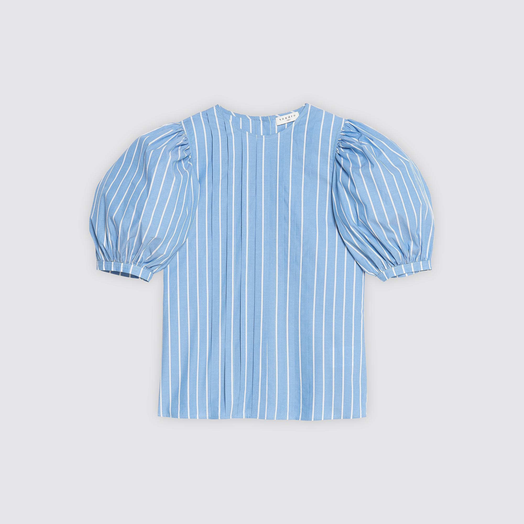 Top in misto cotone a righe plissettato : Collezione Estiva colore Sky Blue