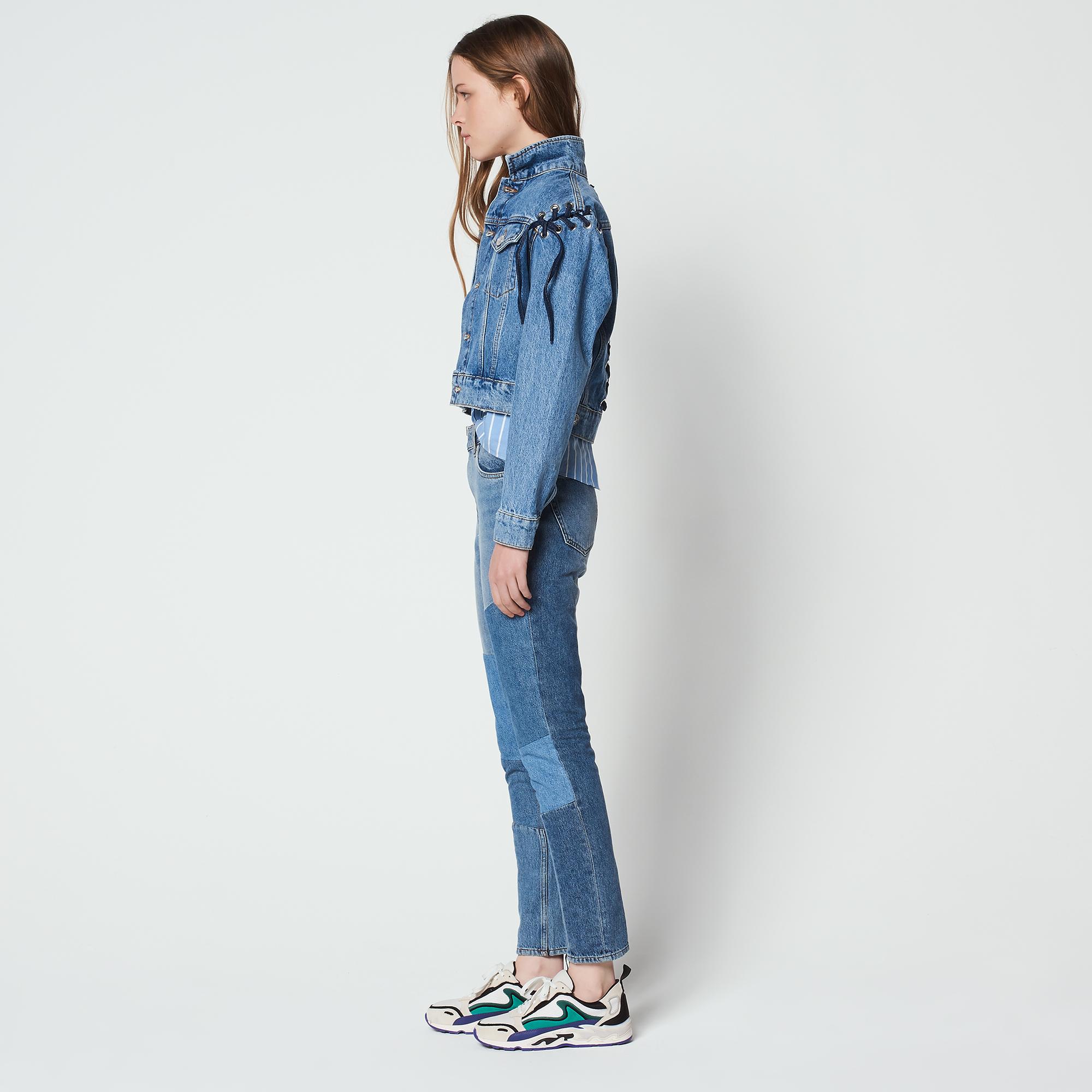 Giacca in jeans con dettagli allacciati : Collezione Estiva colore Blue Vintage - Denim