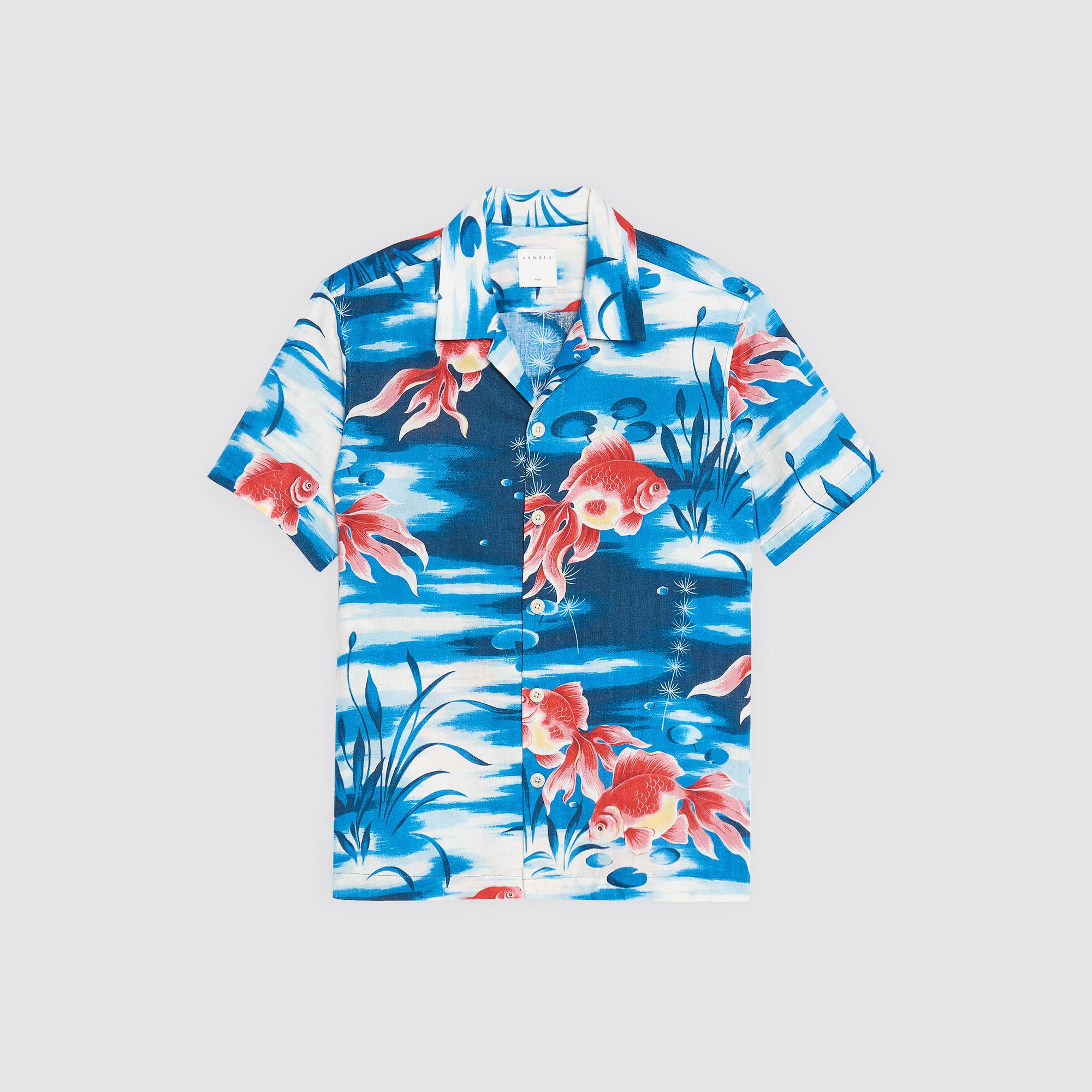 Camicia hawaiana con stampa a pesci : Camicie colore Blu