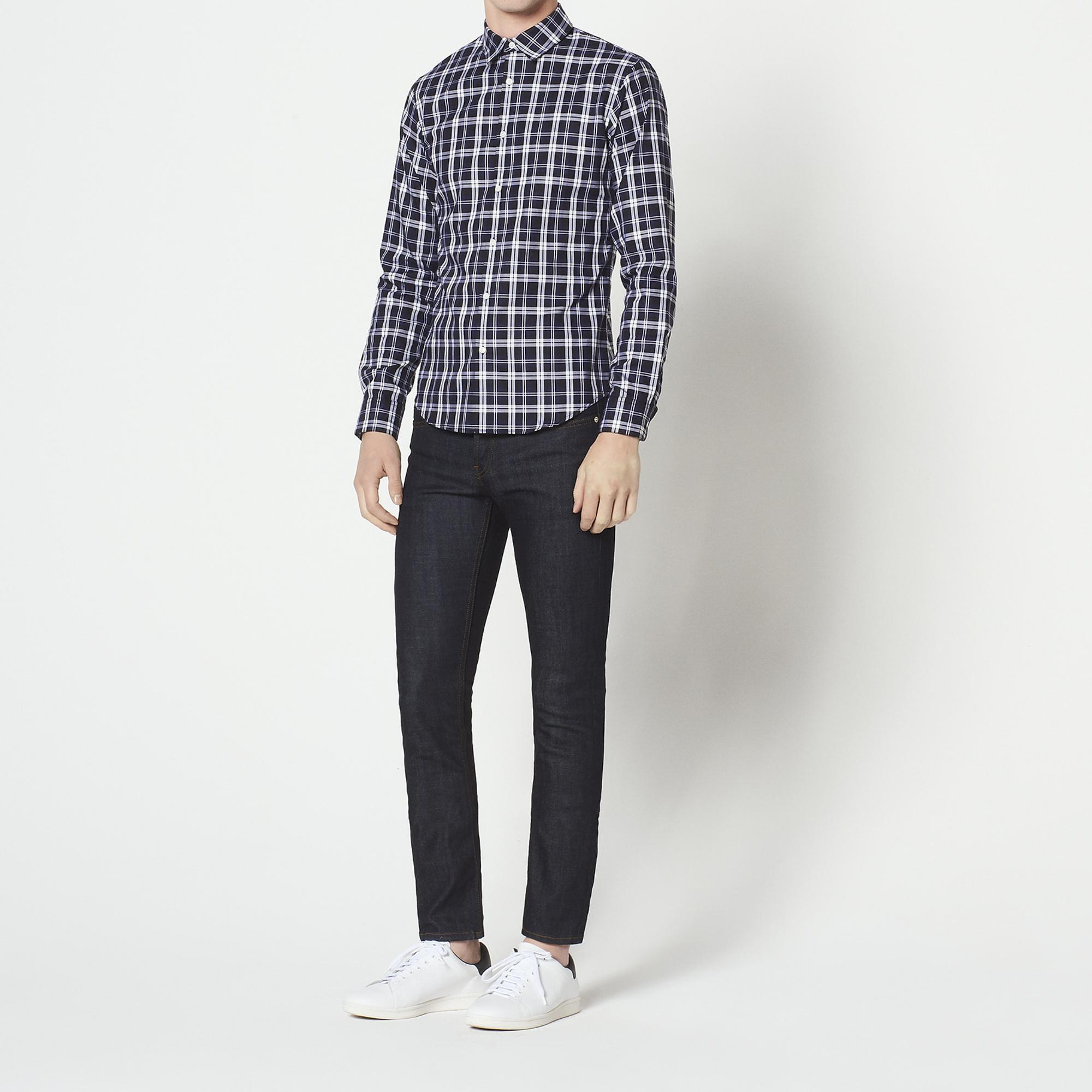 Camicia a quadri casual : Camicie colore Blu Marino