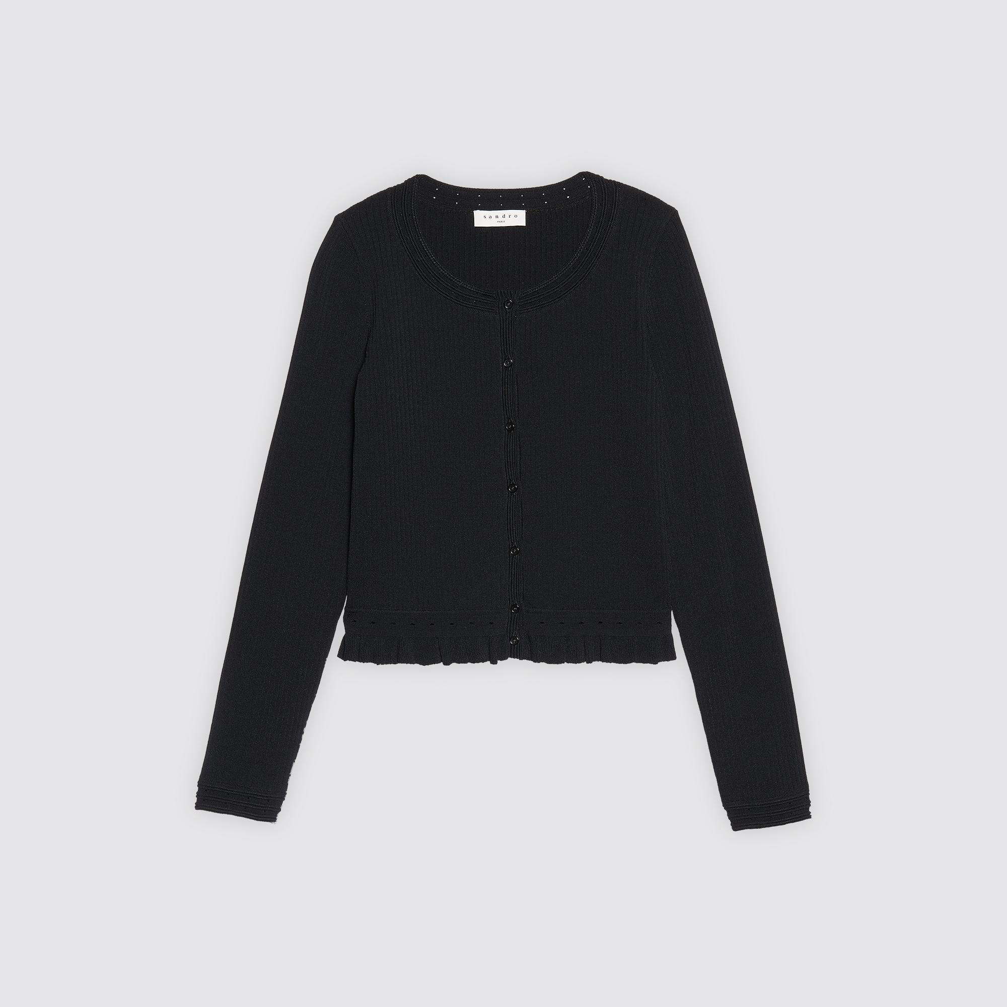 Cardigan corto in maglia con volant : Pre-collezione colore Nero