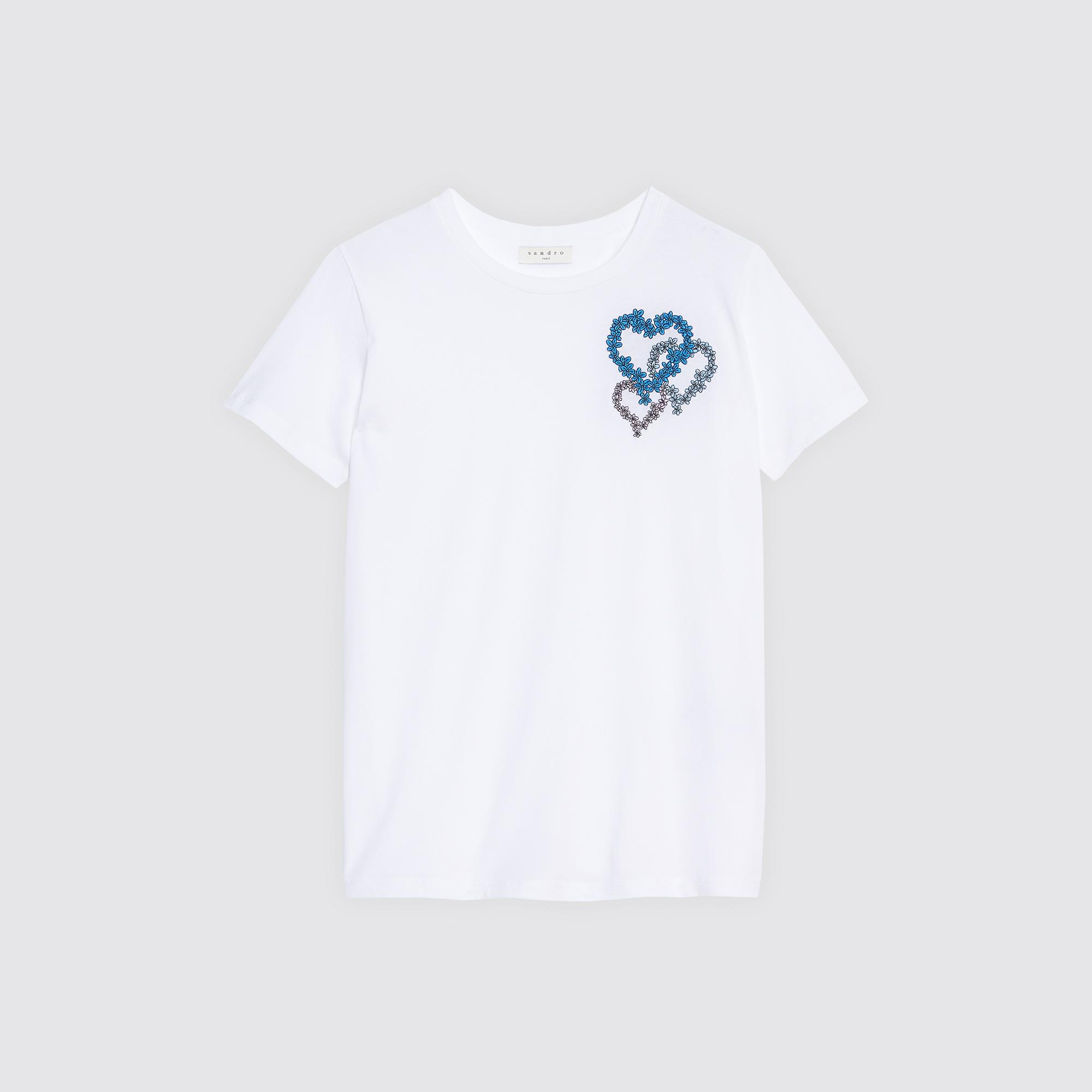T-shirt con motivo a cuori sul petto : Magliette colore Bianco