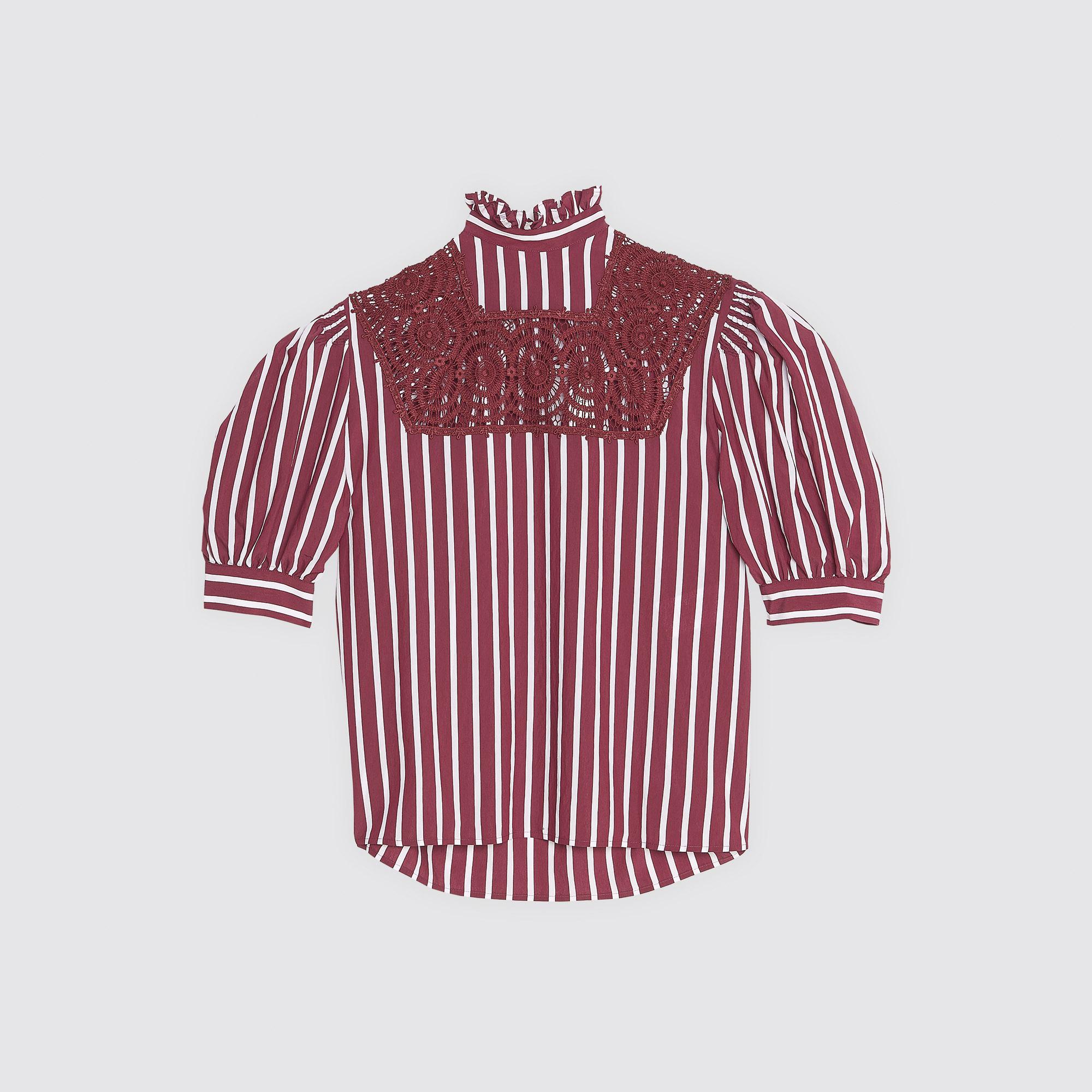 Top a righe con maniche a sbuffo : Top & Camicie colore Bordeaux