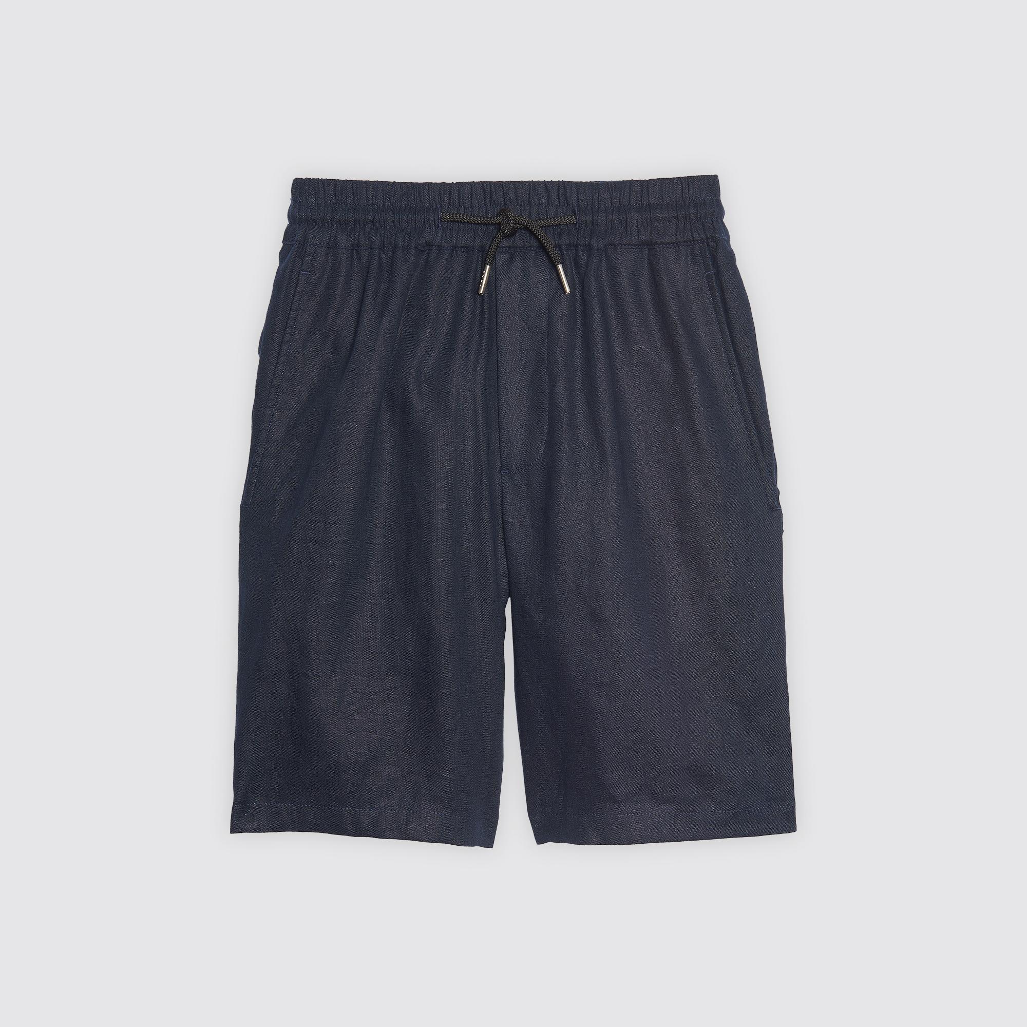 Bermuda in lino con vita elasticizzata : Pantaloni & Short colore Blu Marino