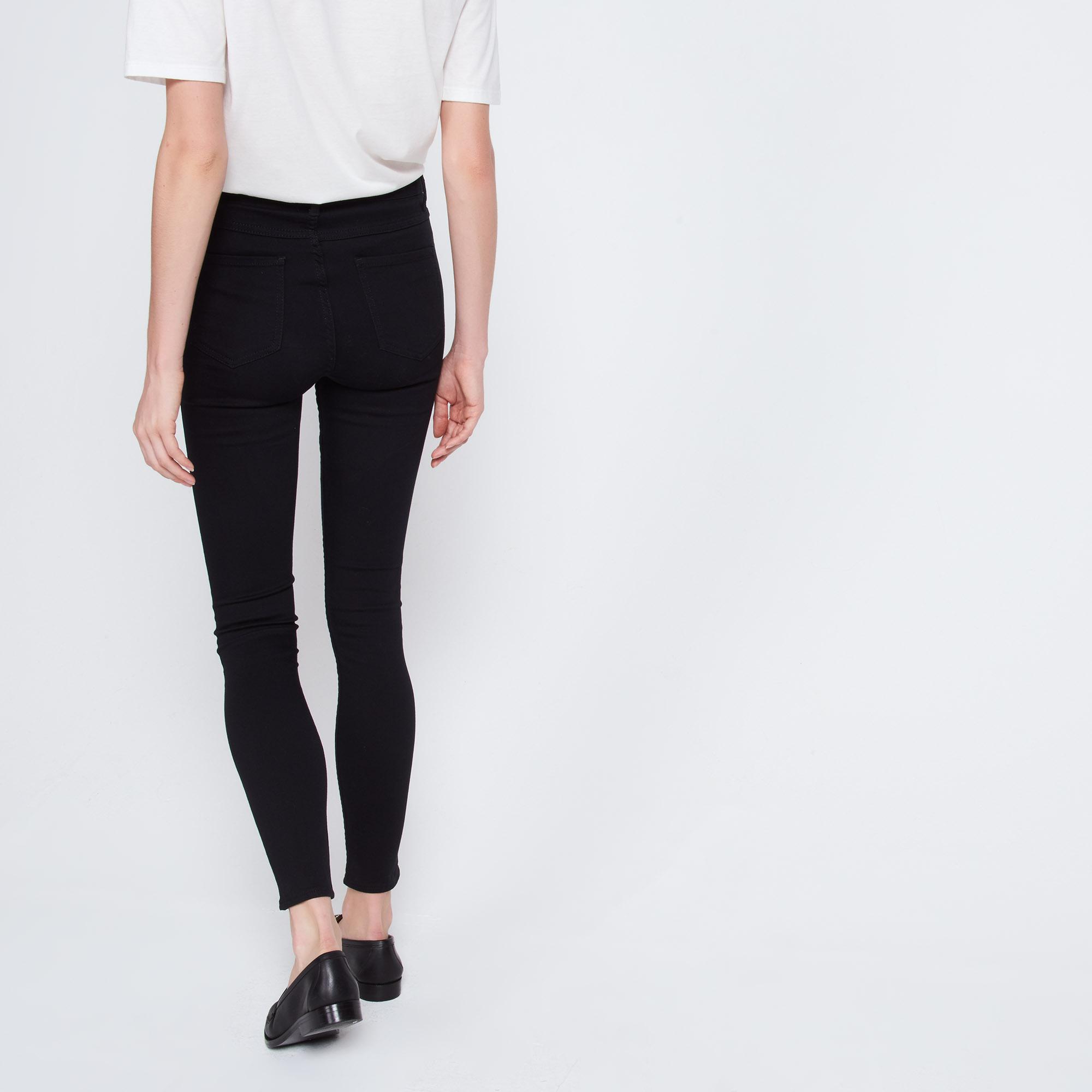Jeans neri délavé con gioco di cuciture : Collezione Estiva colore Nero