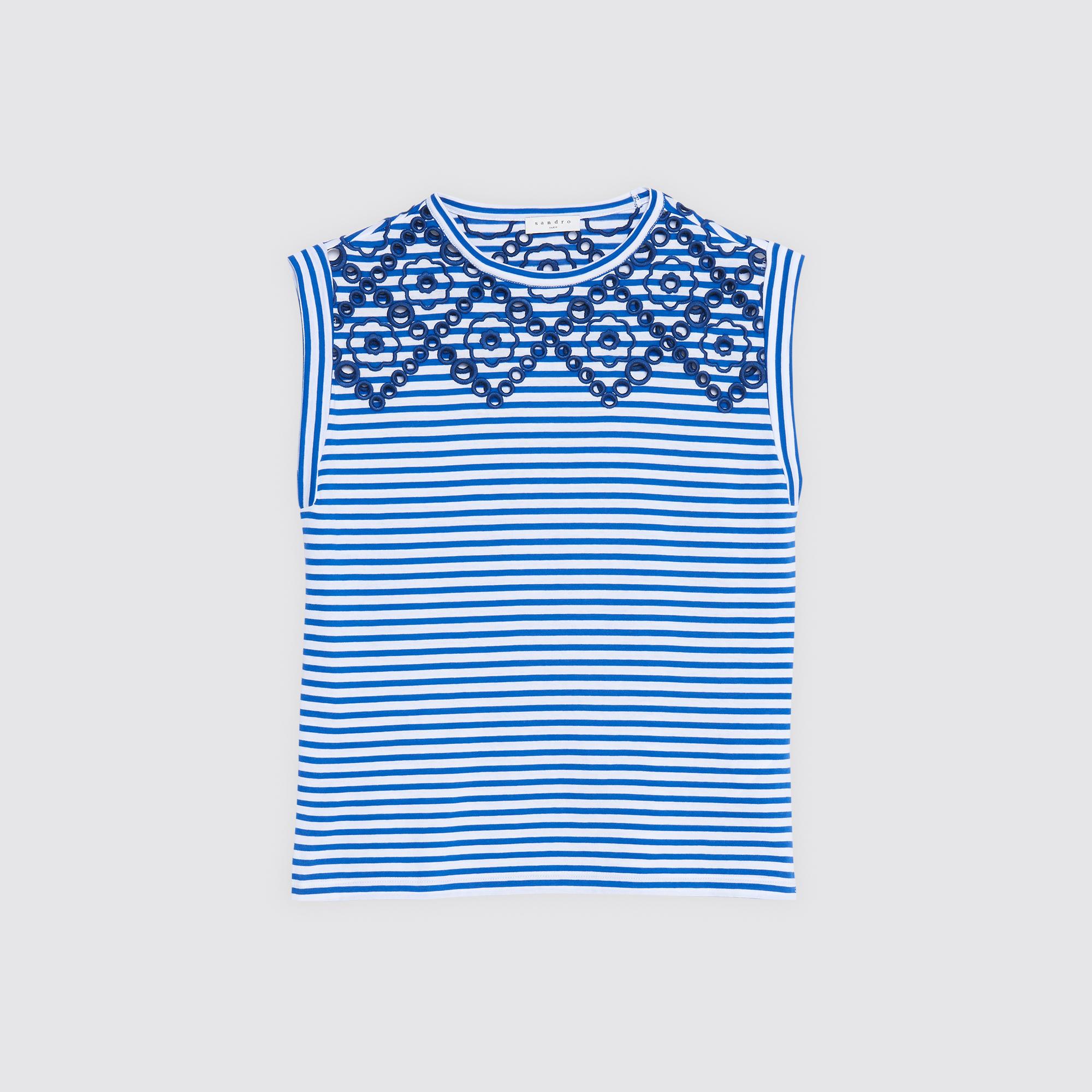 T-shirt a righe con dettagli ricamati : Magliette colore Blu Notte