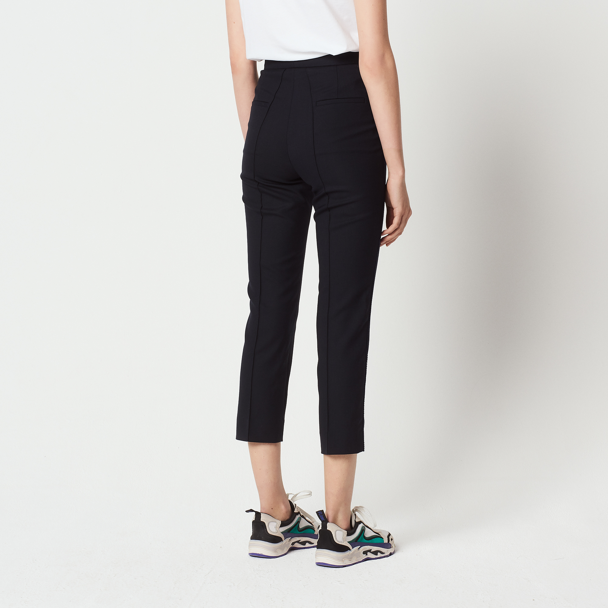 Pantaloni dritti 7/8 con decorazioni : Pantaloni colore Blu Marino