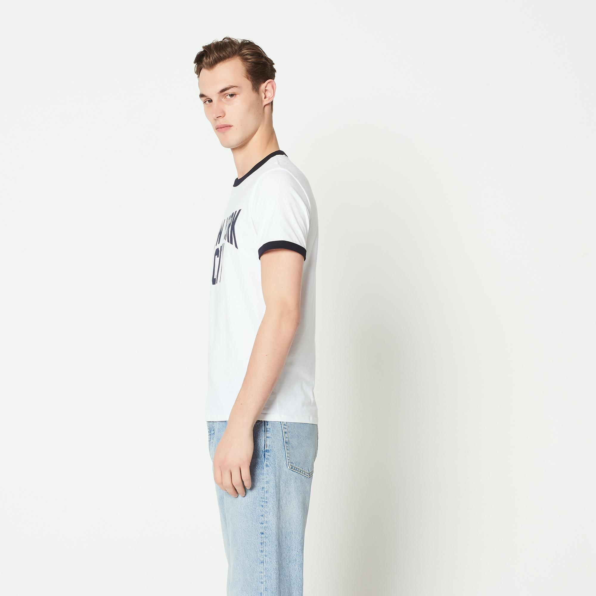 T-shirt con scritta New York City : Magliette & Polo colore Ecru