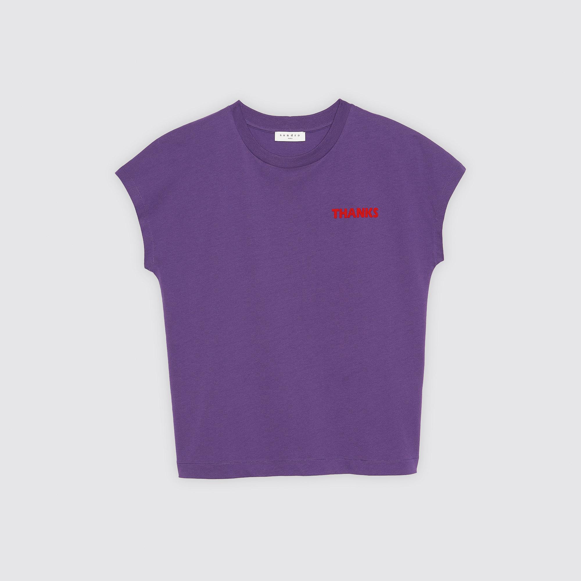 T-shirt in cotone con scritte floccate : Collezione Estiva colore Viola